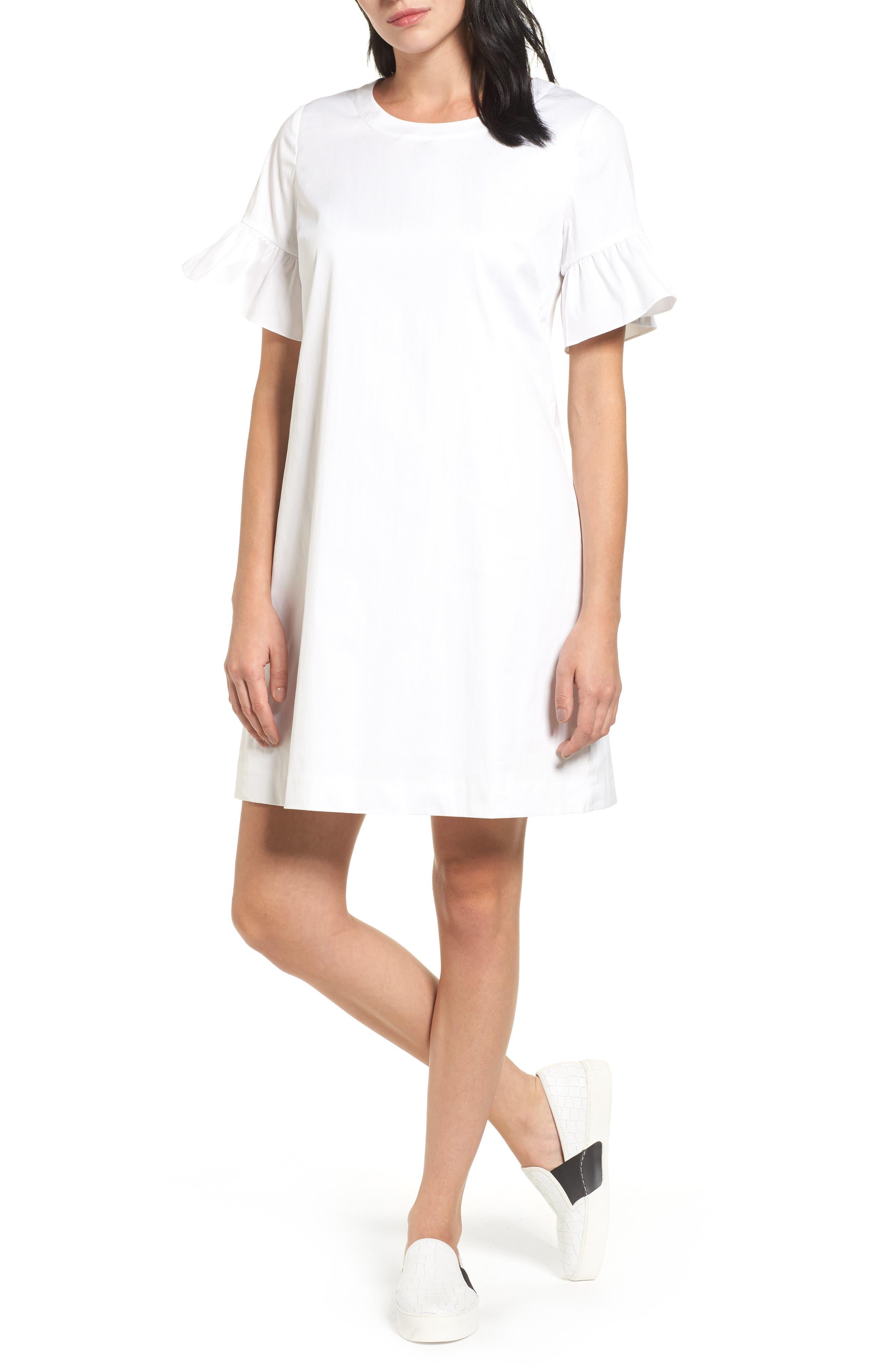 Tie Back Ruffle Sleeve Dress,                         Main,                         color, 100