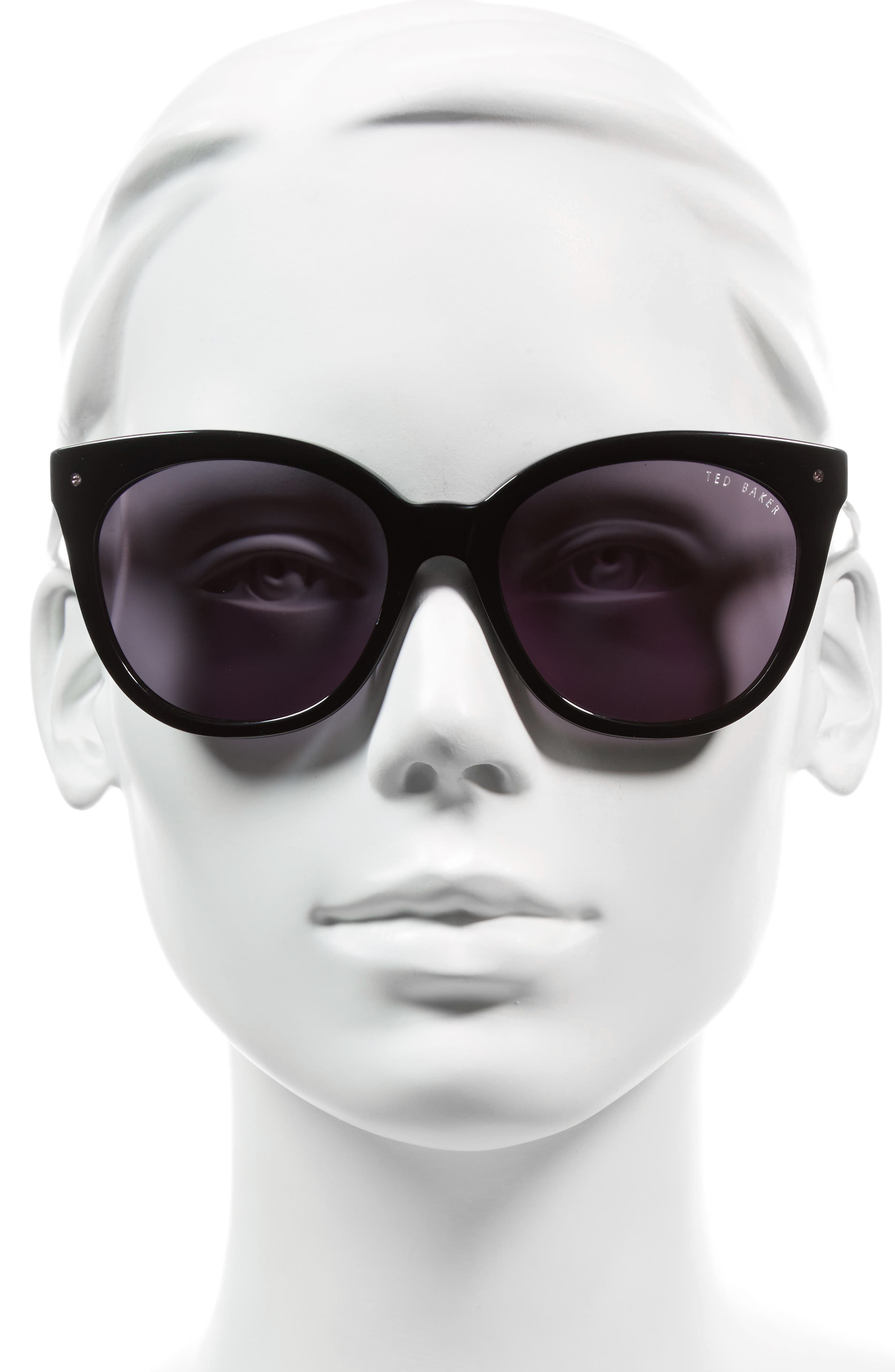 56mm Cat Eye Sunglasses,                             Alternate thumbnail 2, color,                             BLACK