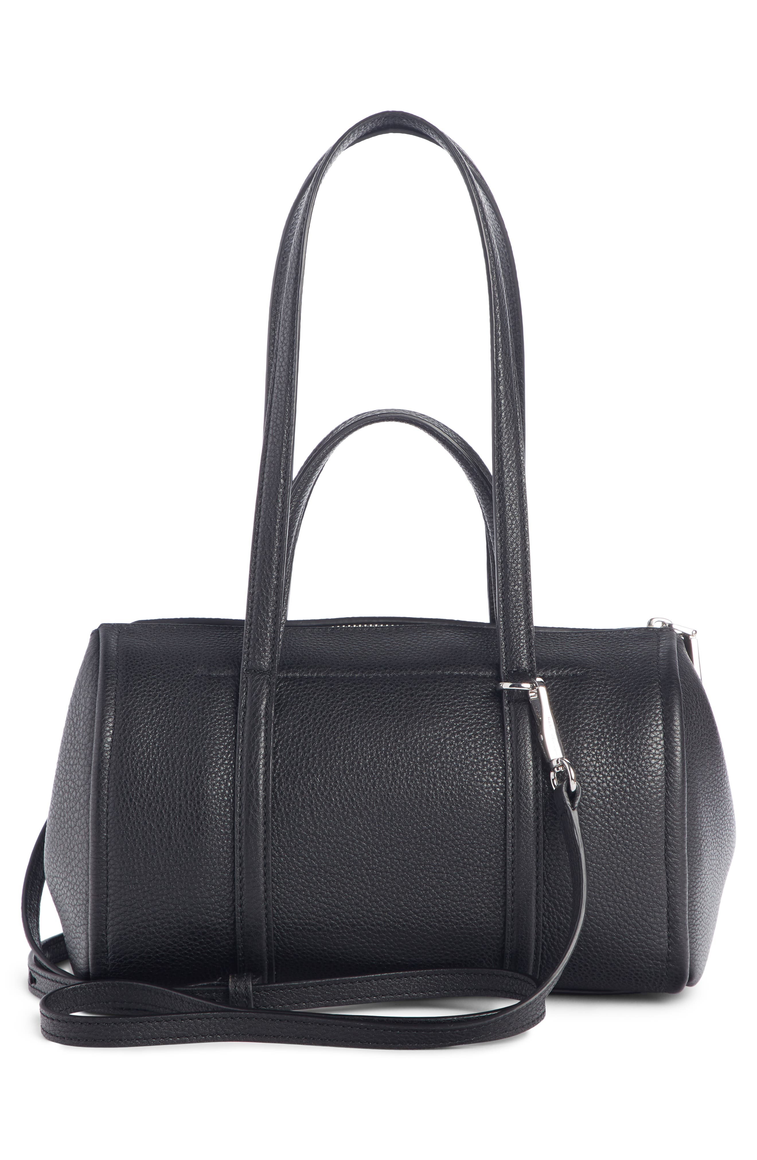 The Tag 26 Bauletto Leather Bag,                             Alternate thumbnail 3, color,                             BLACK