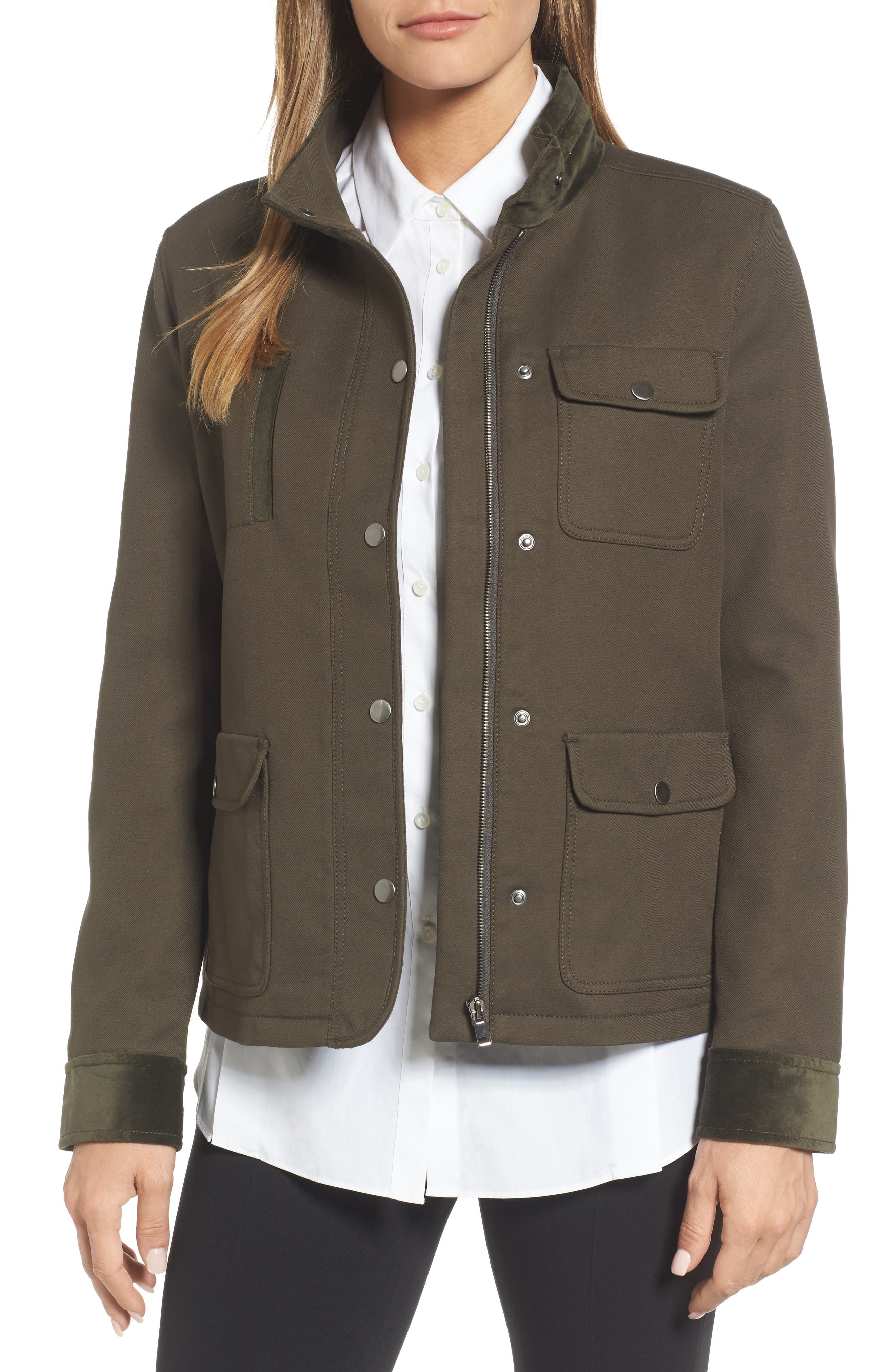 Velvet Back Utility Jacket,                             Main thumbnail 1, color,                             311