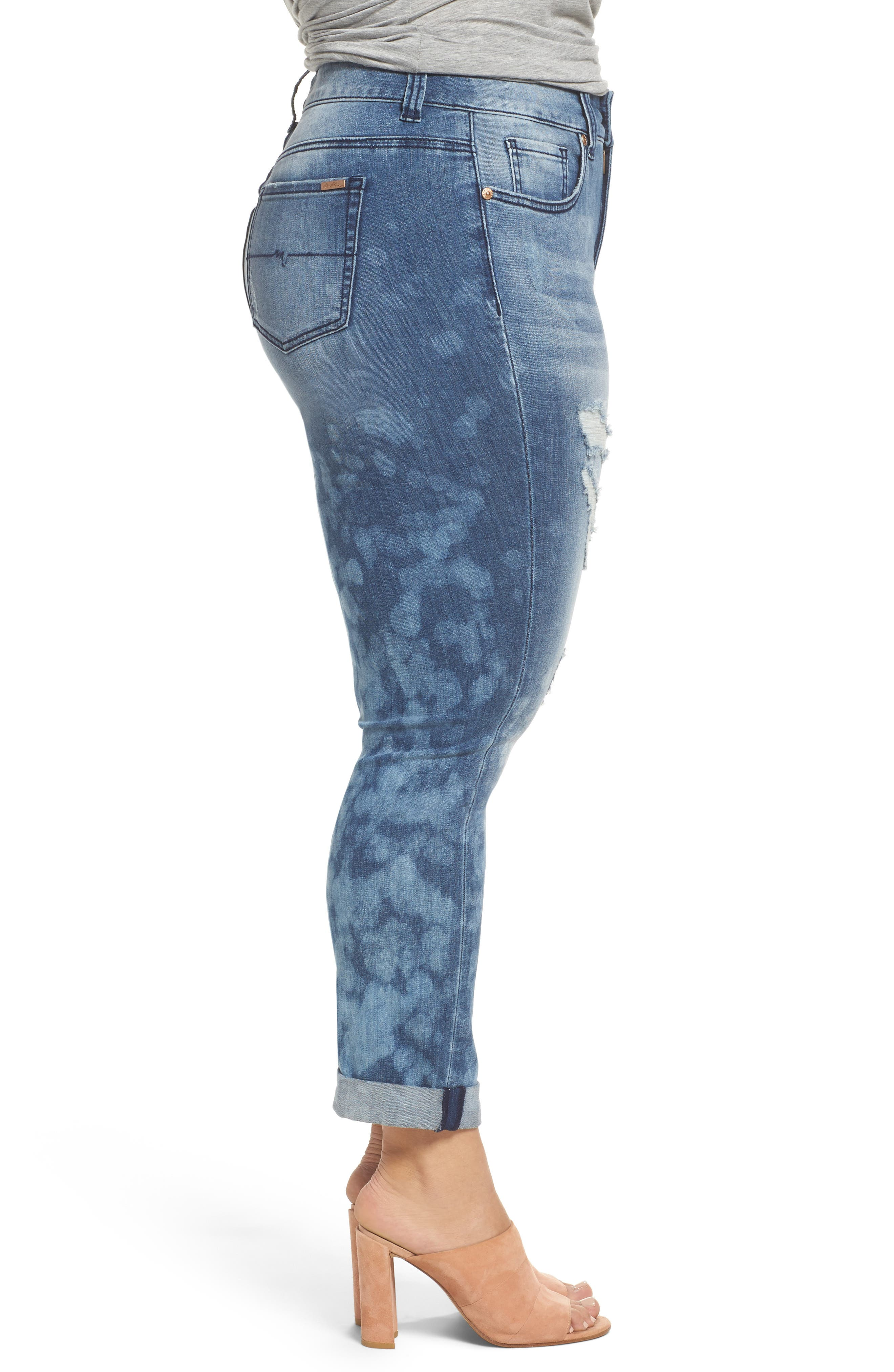 Destructed Roll Cuff Skinny Jeans,                             Alternate thumbnail 3, color,                             409