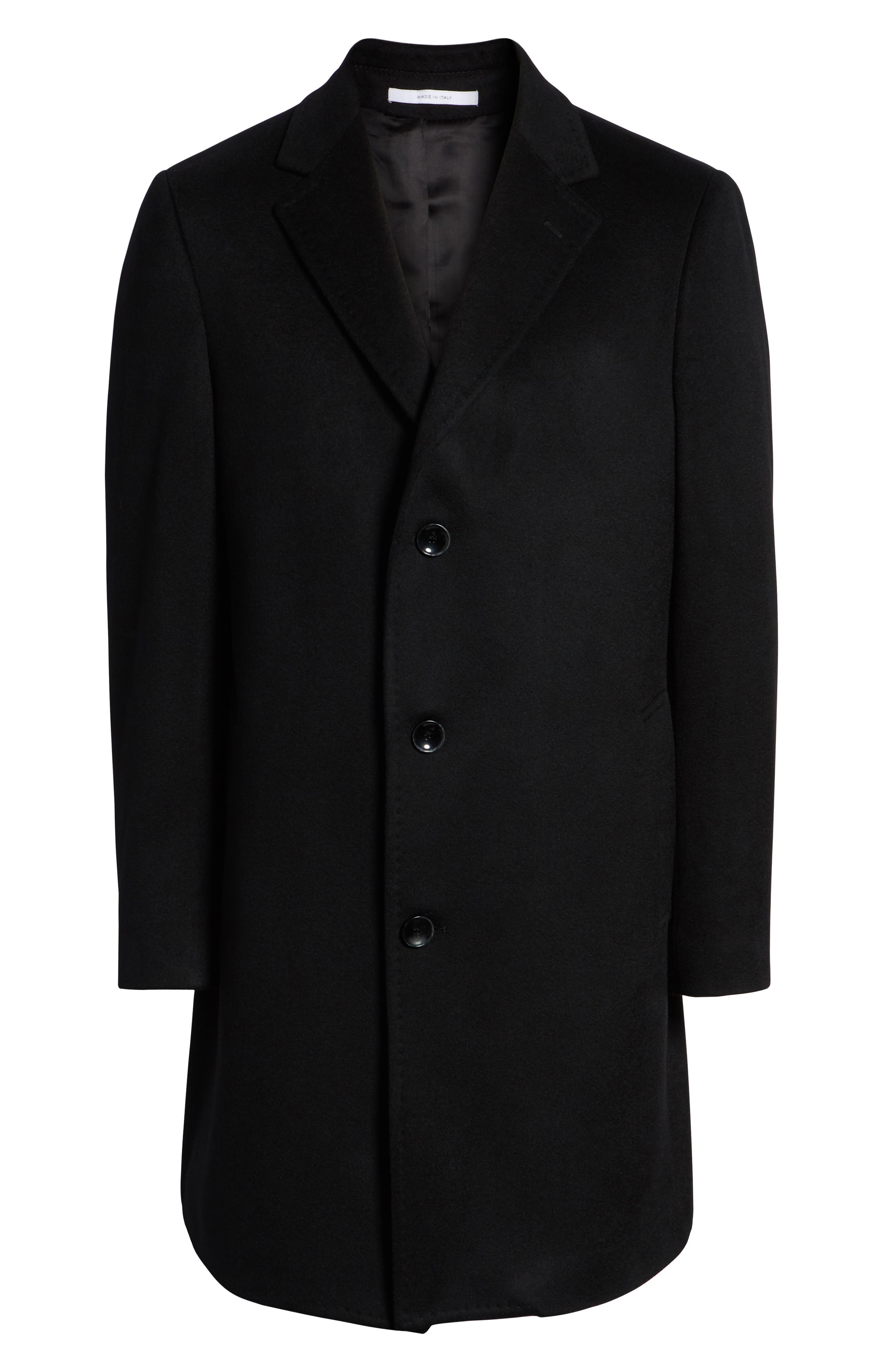 Darien Solid Cashmere Overcoat,                             Alternate thumbnail 6, color,                             BLACK
