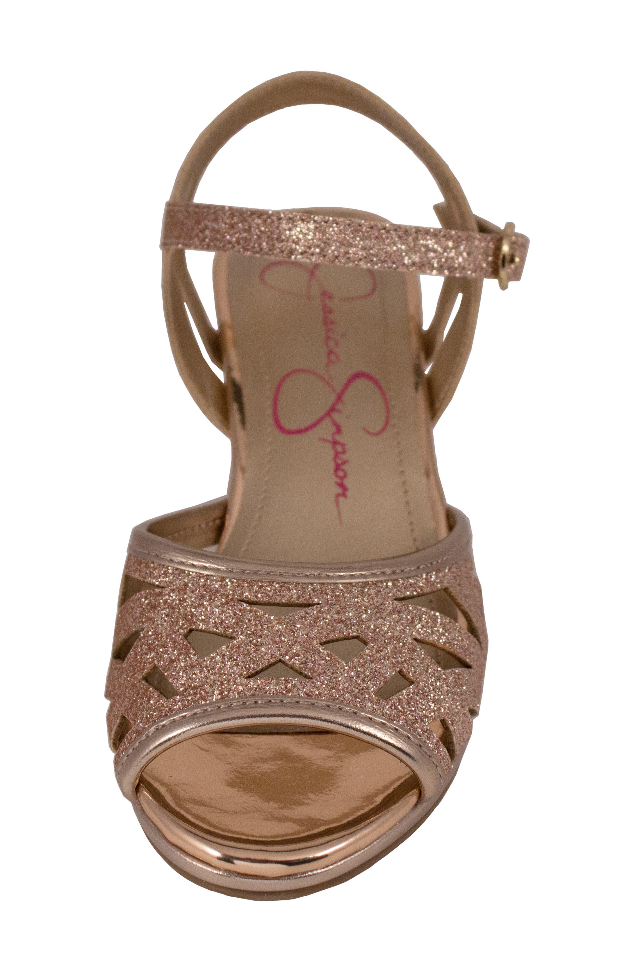 JESSICA SIMPSON,                             Glitter Sandal,                             Alternate thumbnail 4, color,                             ROSE GOLD