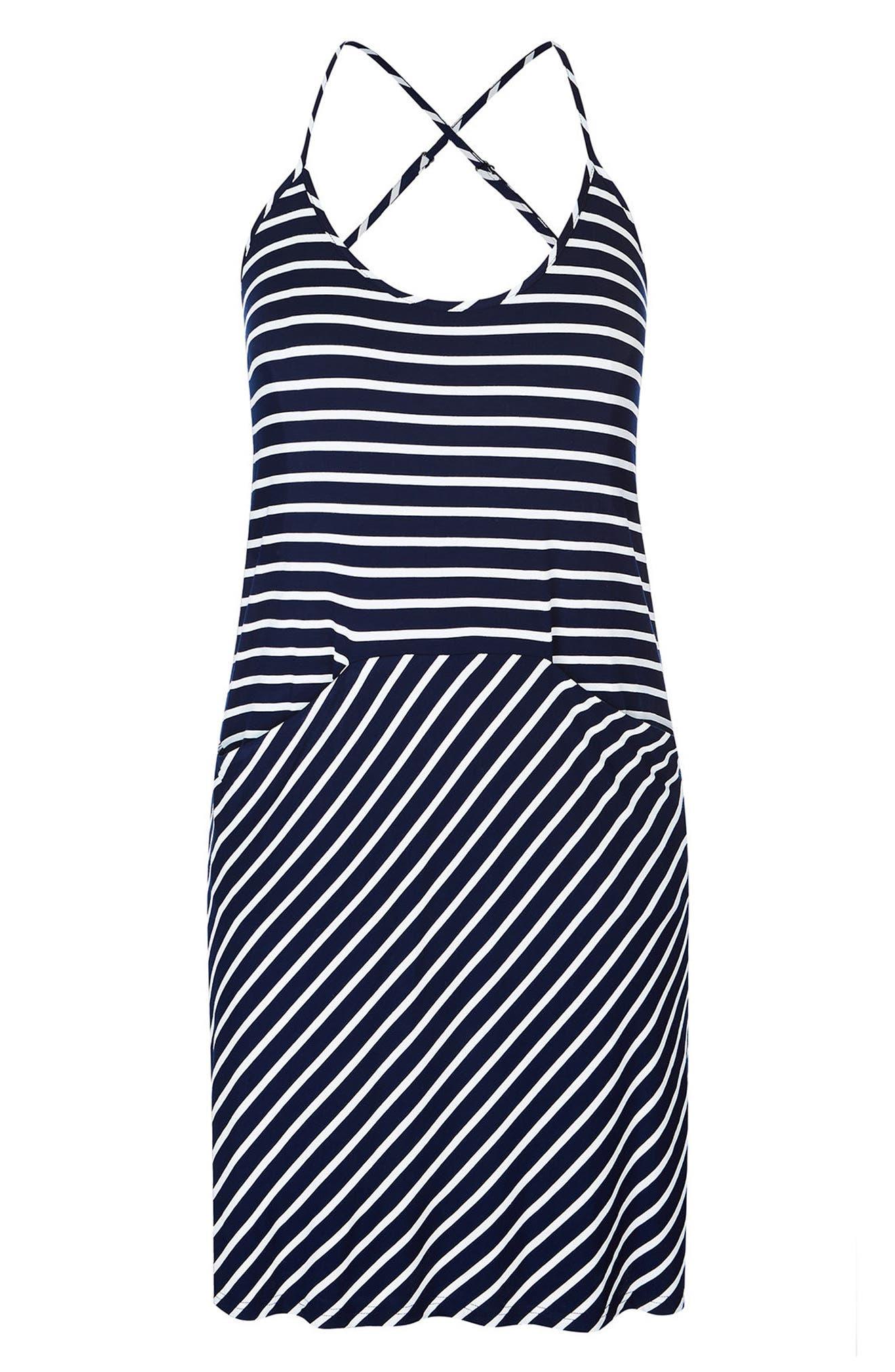 Beachy Days Dress,                             Alternate thumbnail 4, color,                             BLACK STRIPE