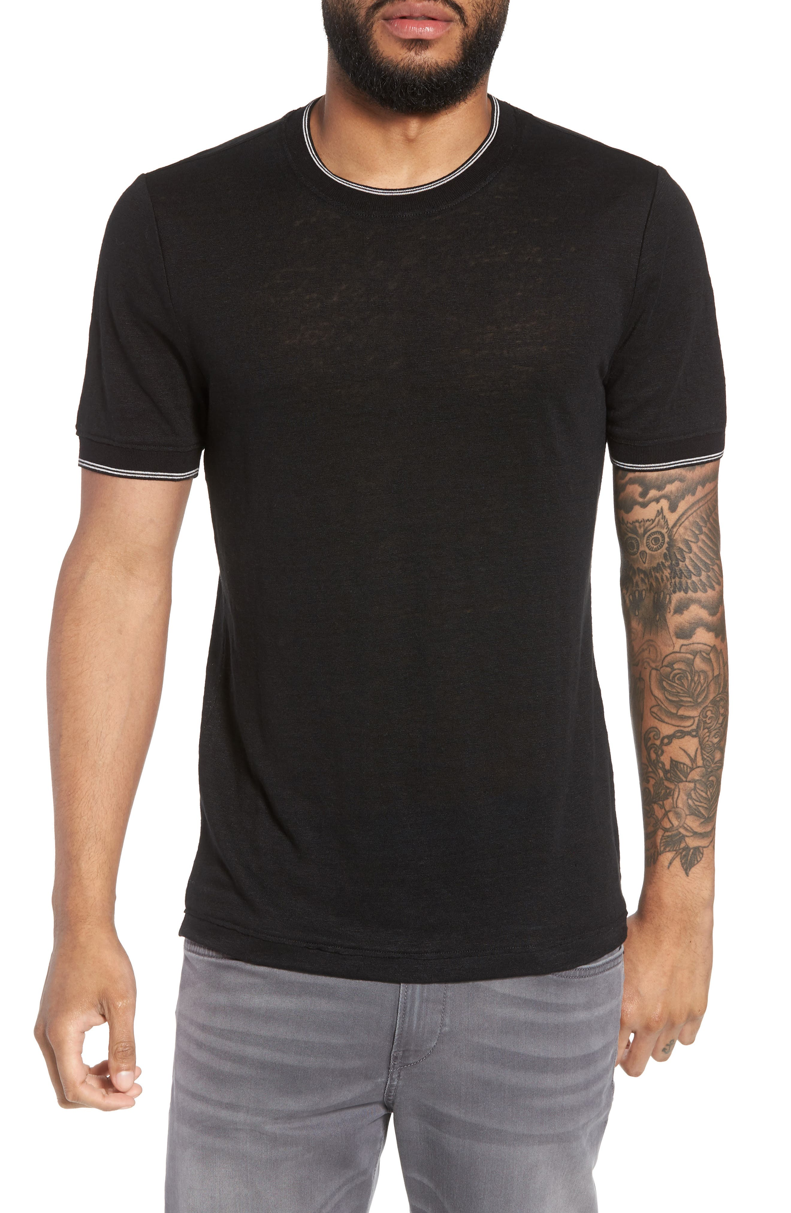 Slim Fit Tipped Linen T-Shirt,                         Main,                         color, 001