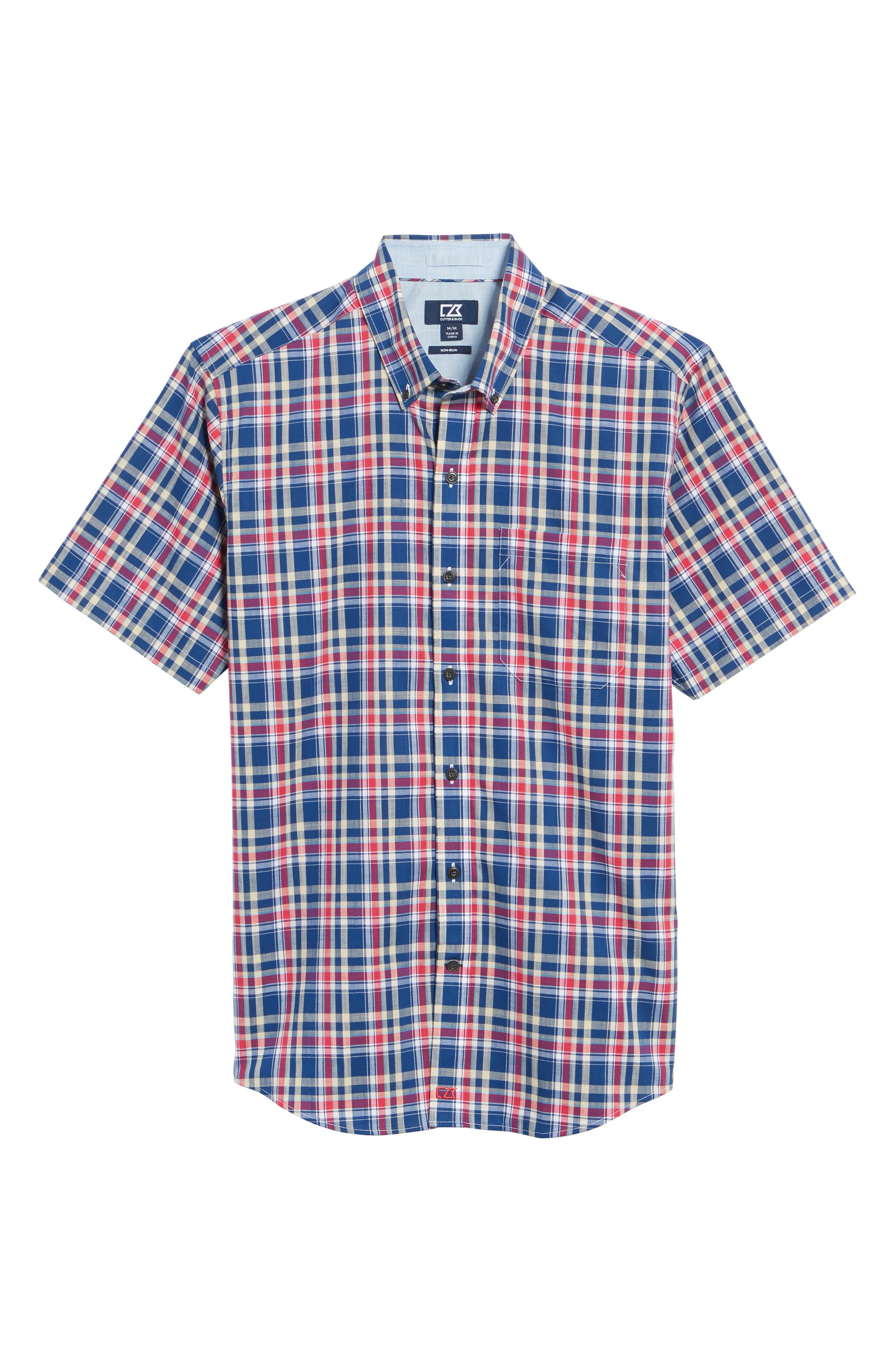 Sebastian Classic Fit Non-Iron Plaid Sport Shirt,                             Alternate thumbnail 12, color,