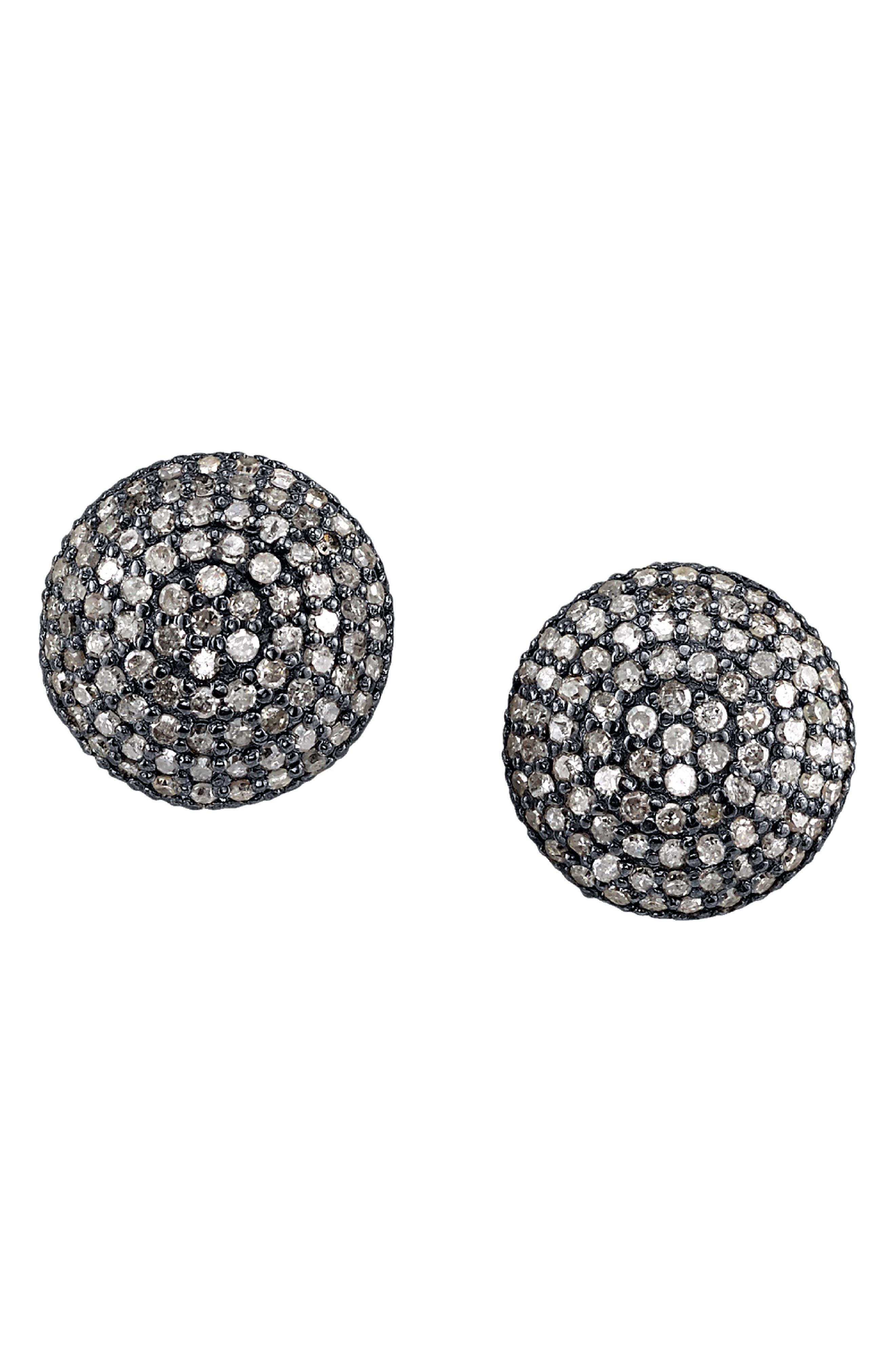 SHERYL LOWE Pave Diamond Dome Stud Earrings in Sterling Silver