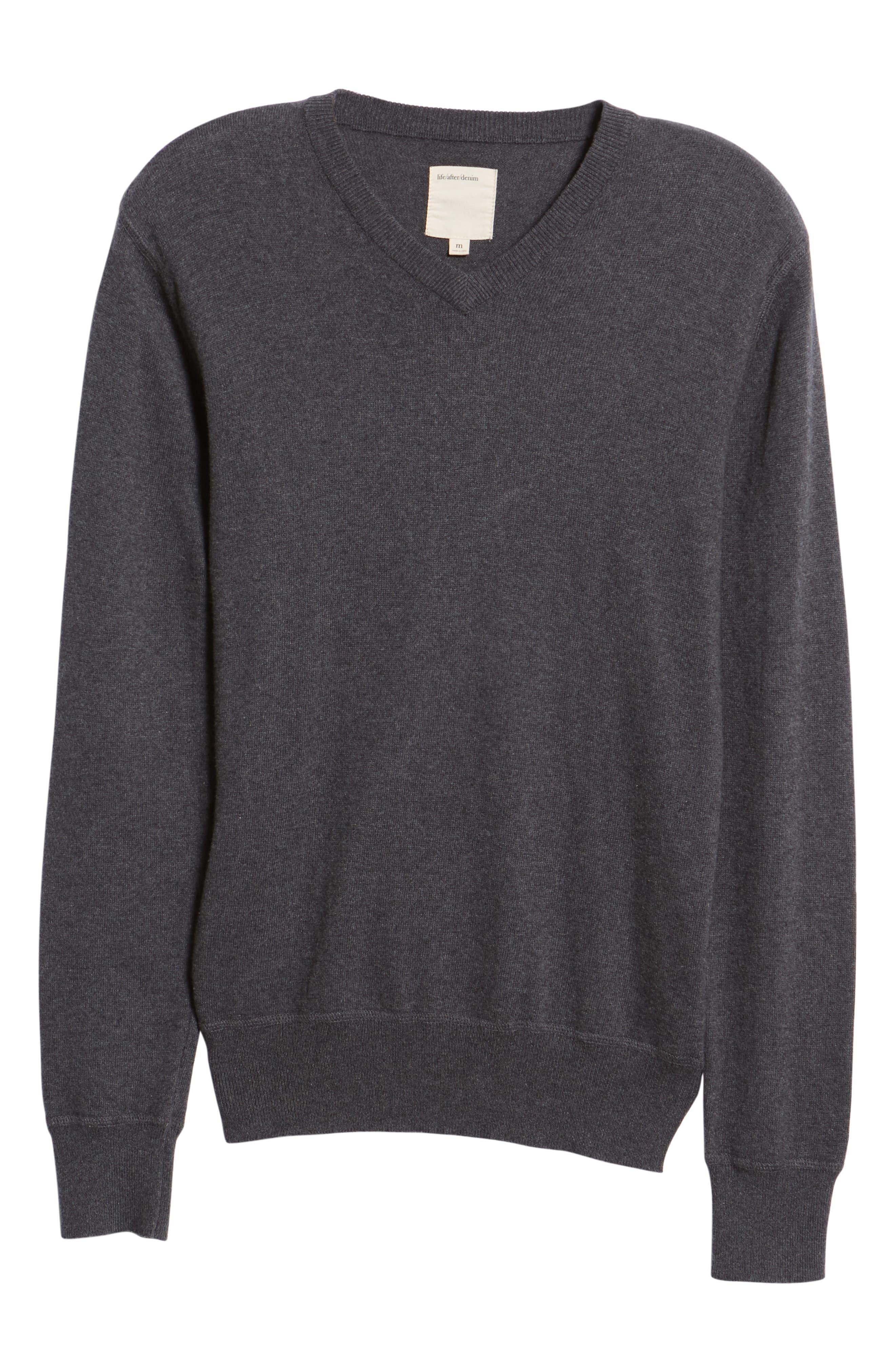 Tournament Slim Fit V-Neck Sweater,                             Alternate thumbnail 6, color,                             HEATHER CHARCOAL