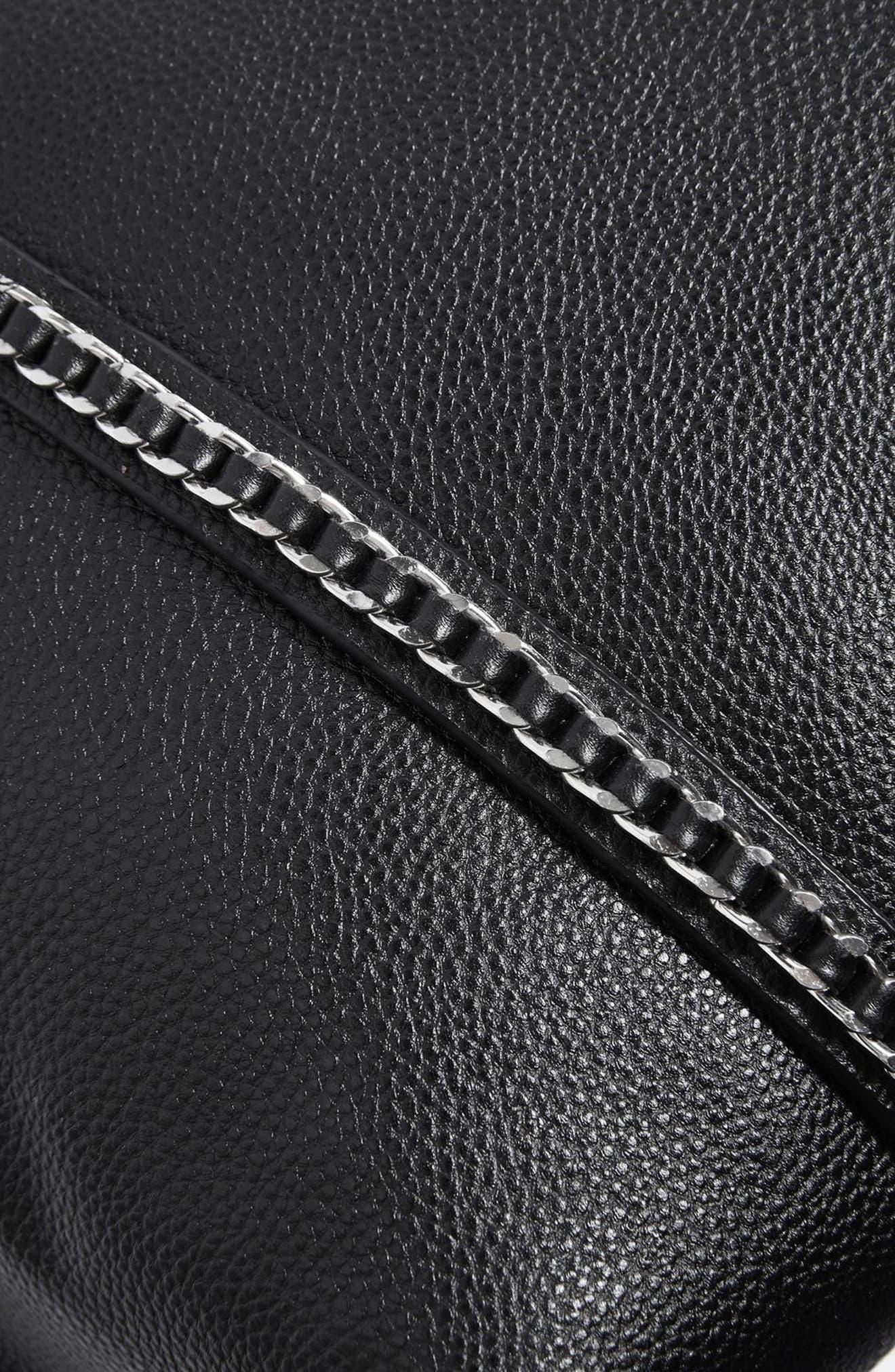 Sabrina Chain Trim Faux Leather Shopper,                             Alternate thumbnail 4, color,                             001
