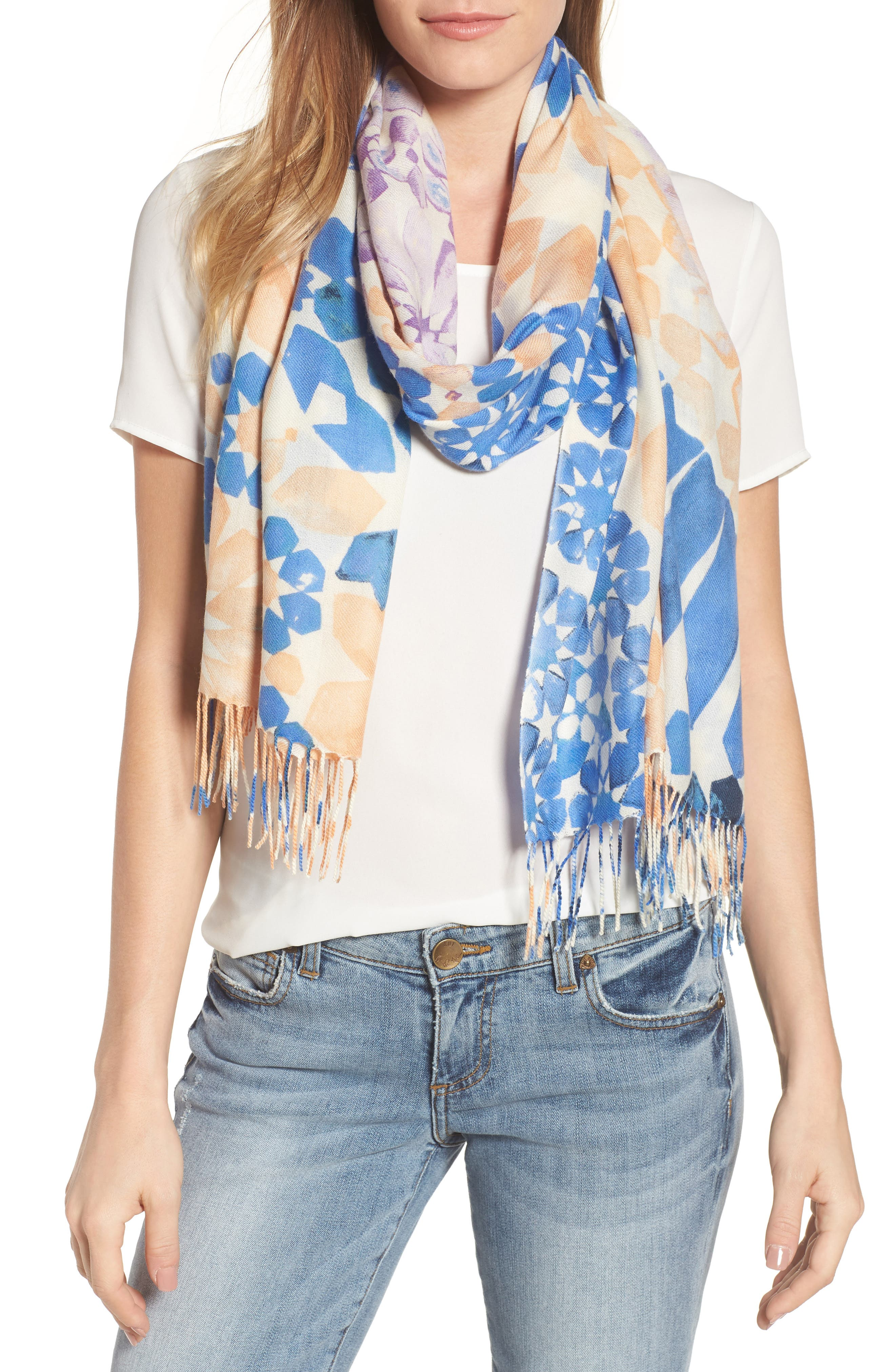 Tissue Print Wool & Cashmere Wrap Scarf,                             Main thumbnail 15, color,