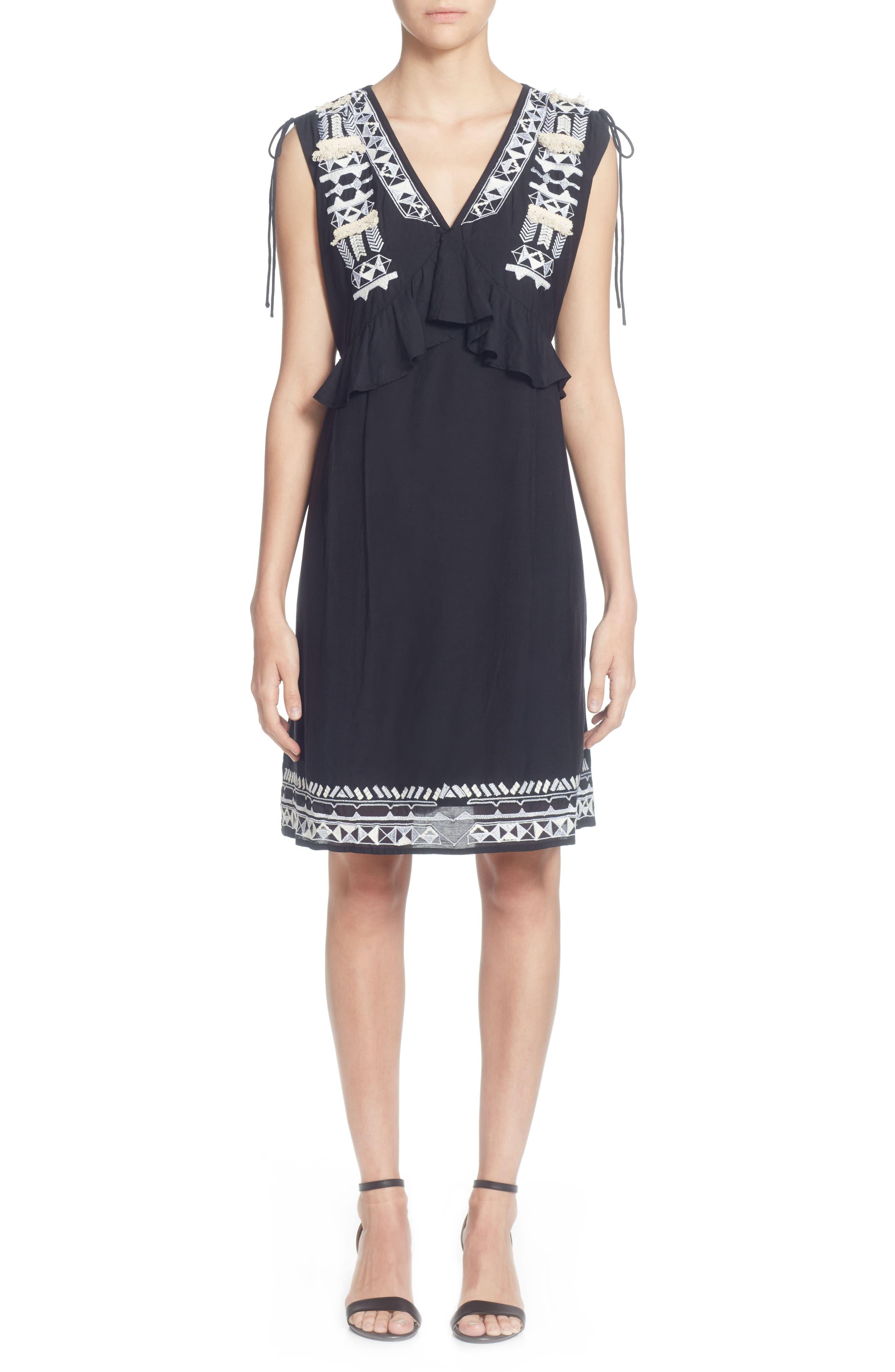 Catherine Catherine Malandrino Fadilia Embroidery Cotton Blend Dress, Black