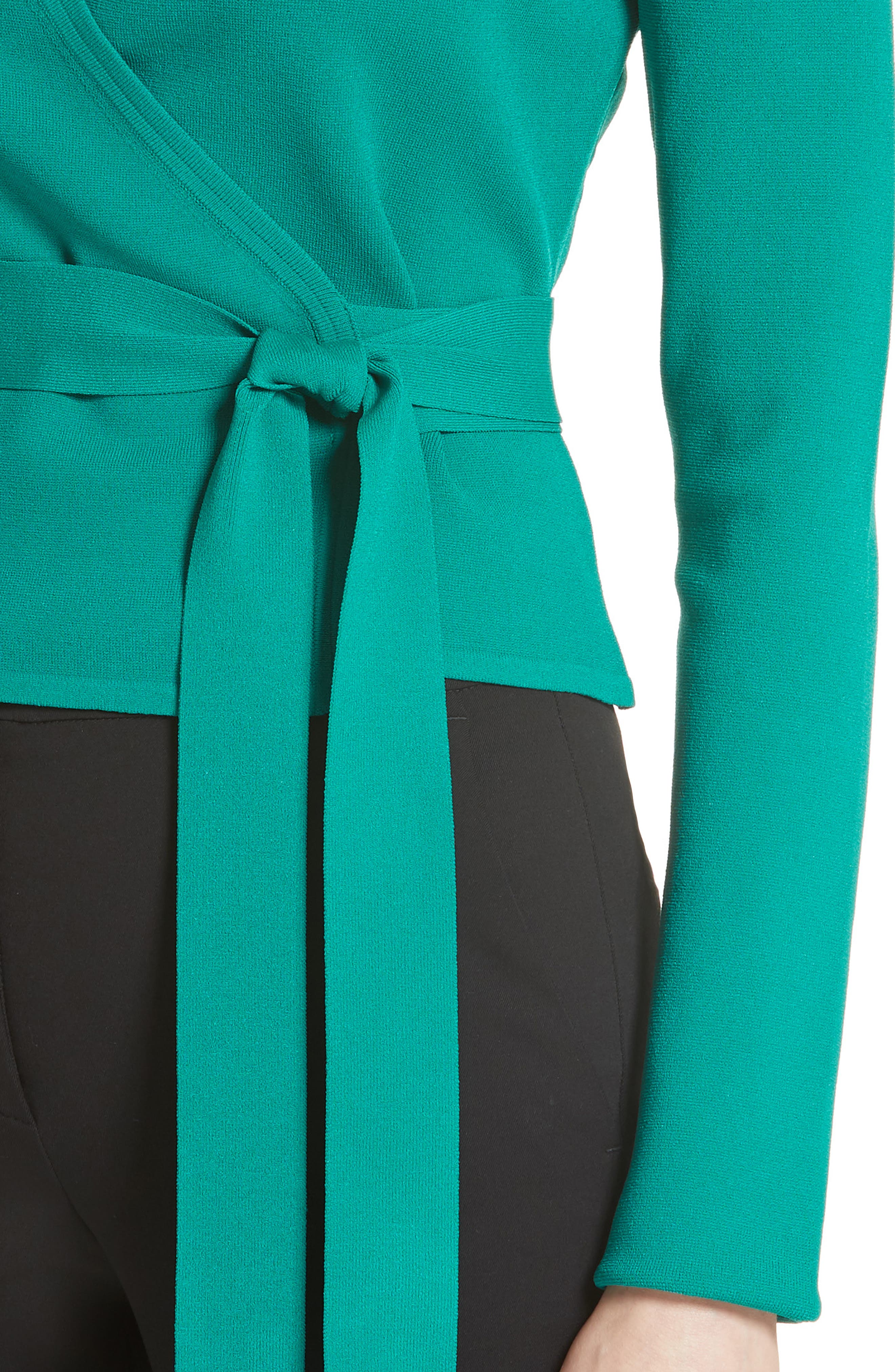 Diane von Furstenberg Knit Wrap Top,                             Alternate thumbnail 4, color,                             340