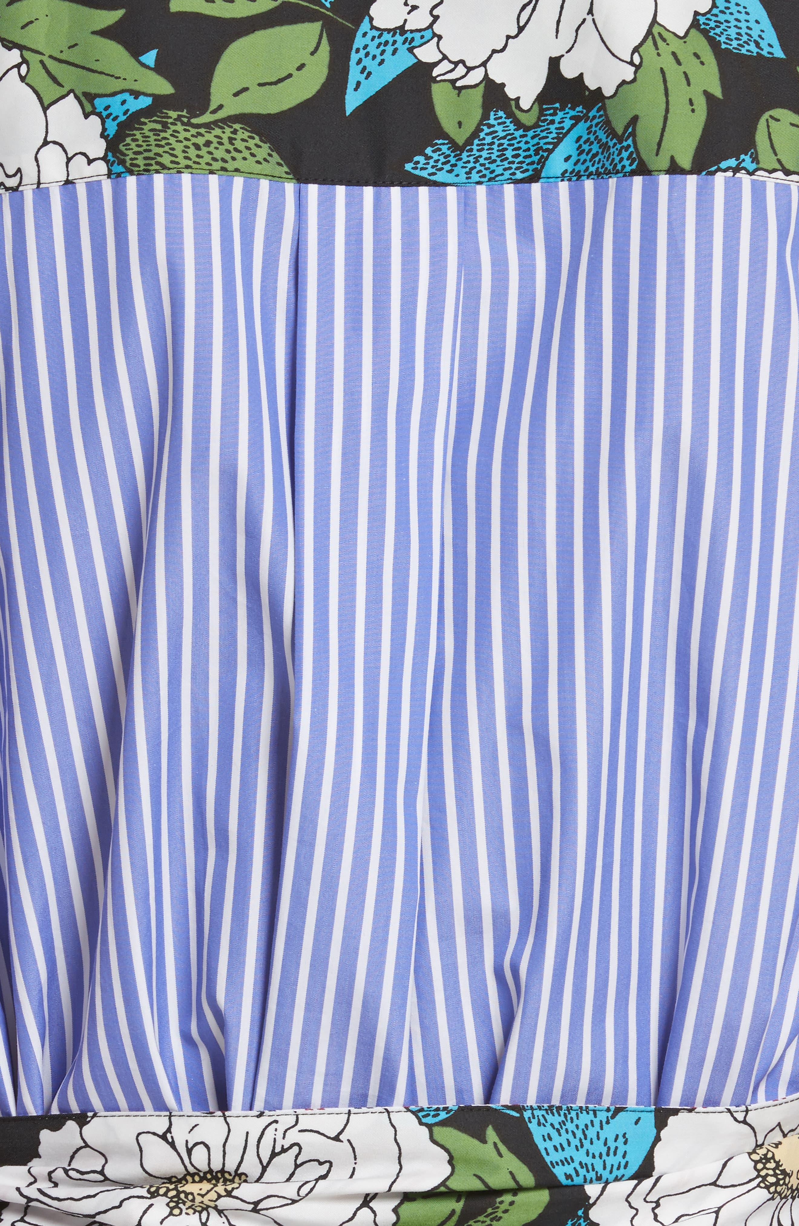 Diane von Furstenberg Mixed Print Cotton Shirtdress,                             Alternate thumbnail 5, color,