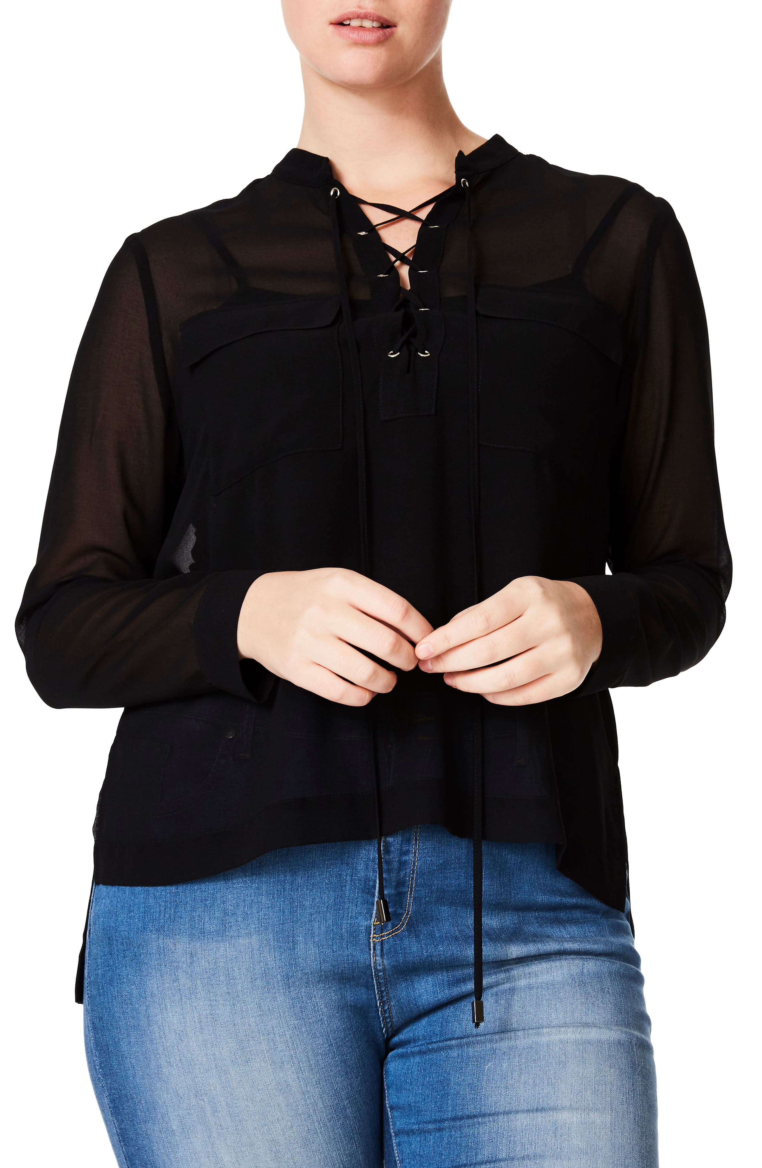 Crisscross Lace-Up Blouse,                             Main thumbnail 1, color,