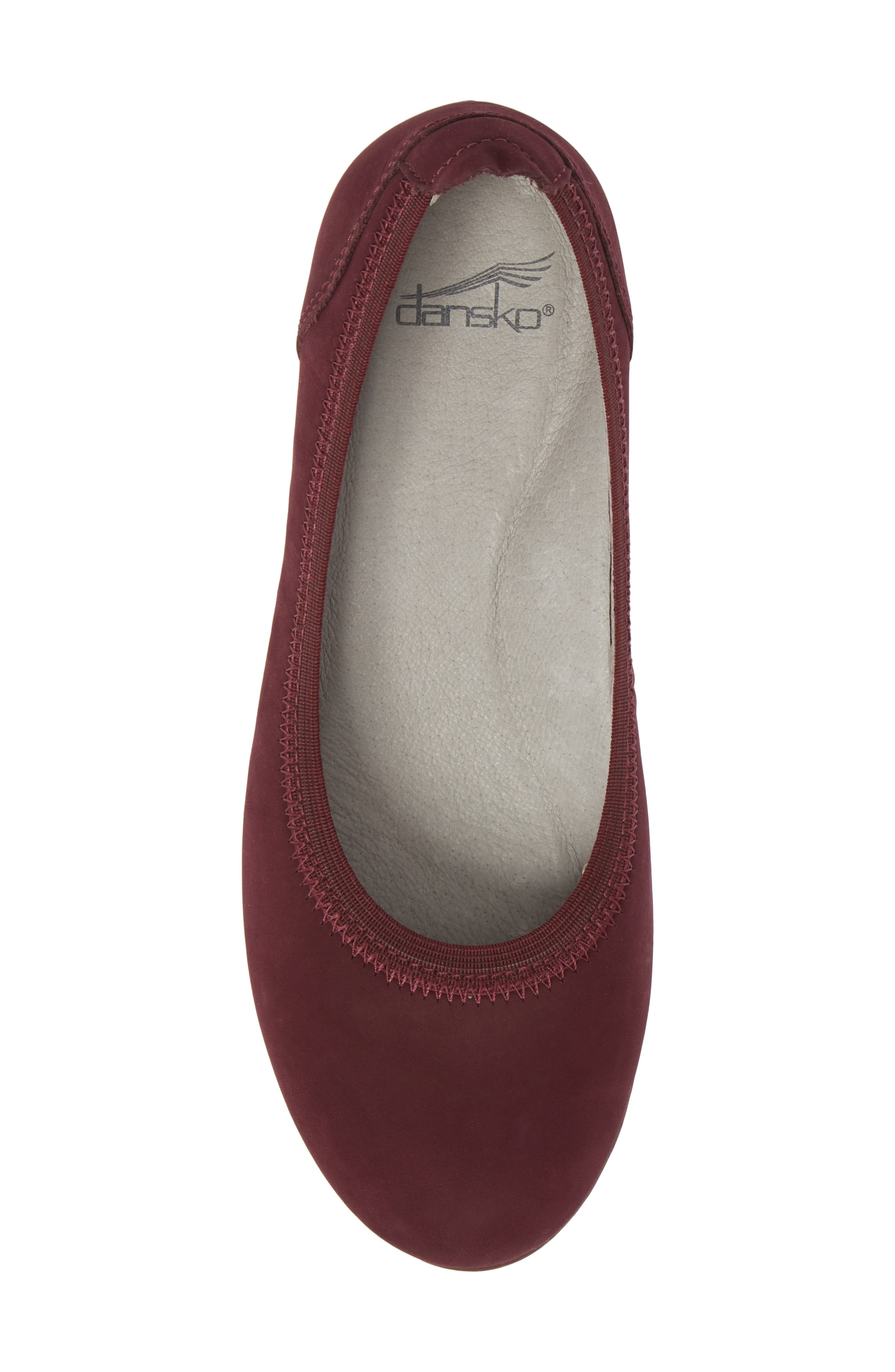 Kristen Ballet Flat,                             Alternate thumbnail 5, color,                             WINE MILLED NUBUCK