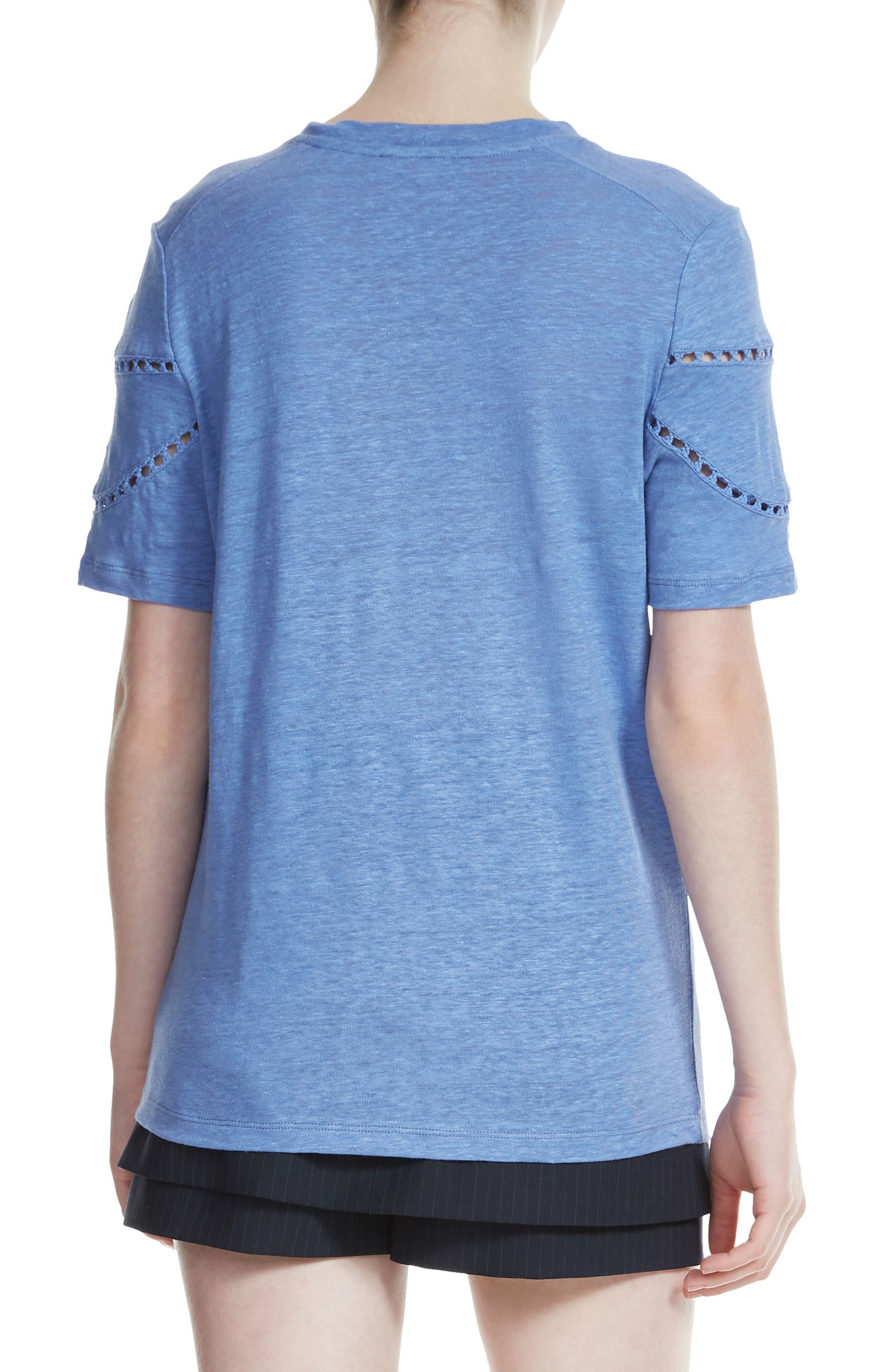 Turnan Embroidered Linen Tee,                             Alternate thumbnail 2, color,                             400