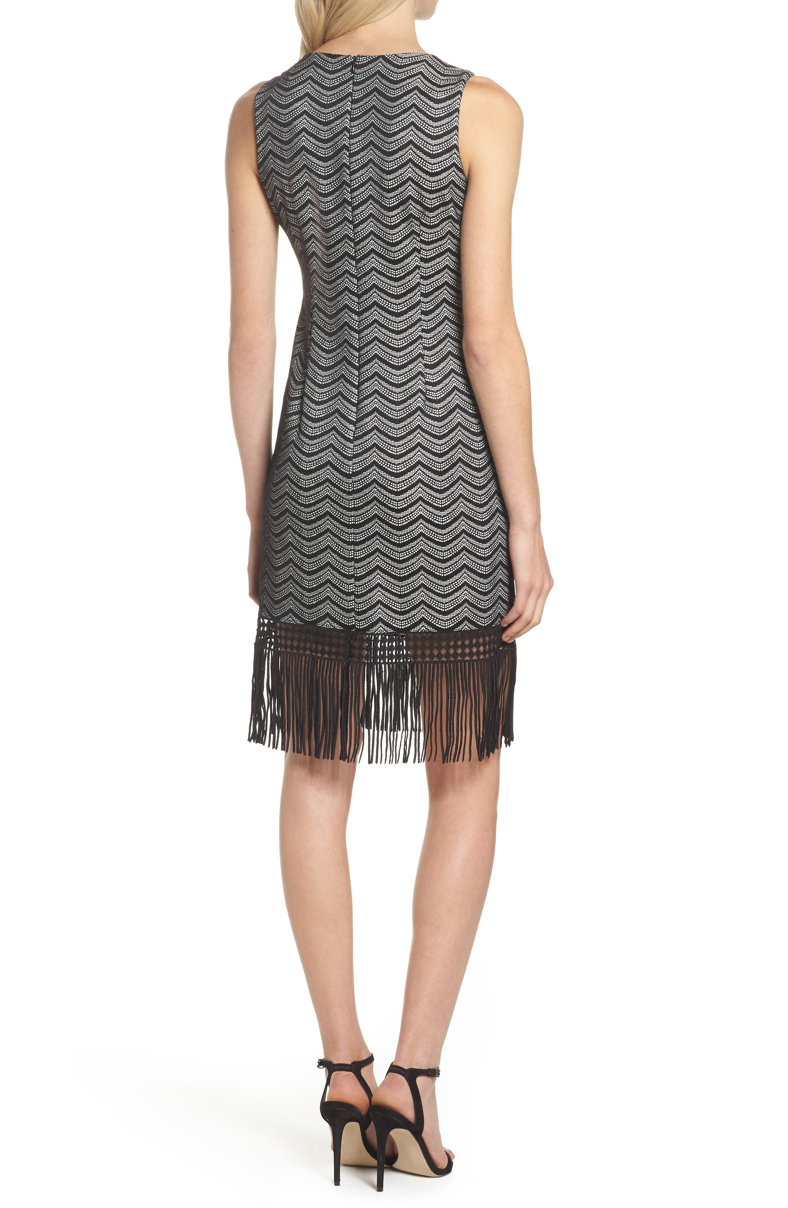 Fringe Sheath Dress,                             Alternate thumbnail 2, color,                             001