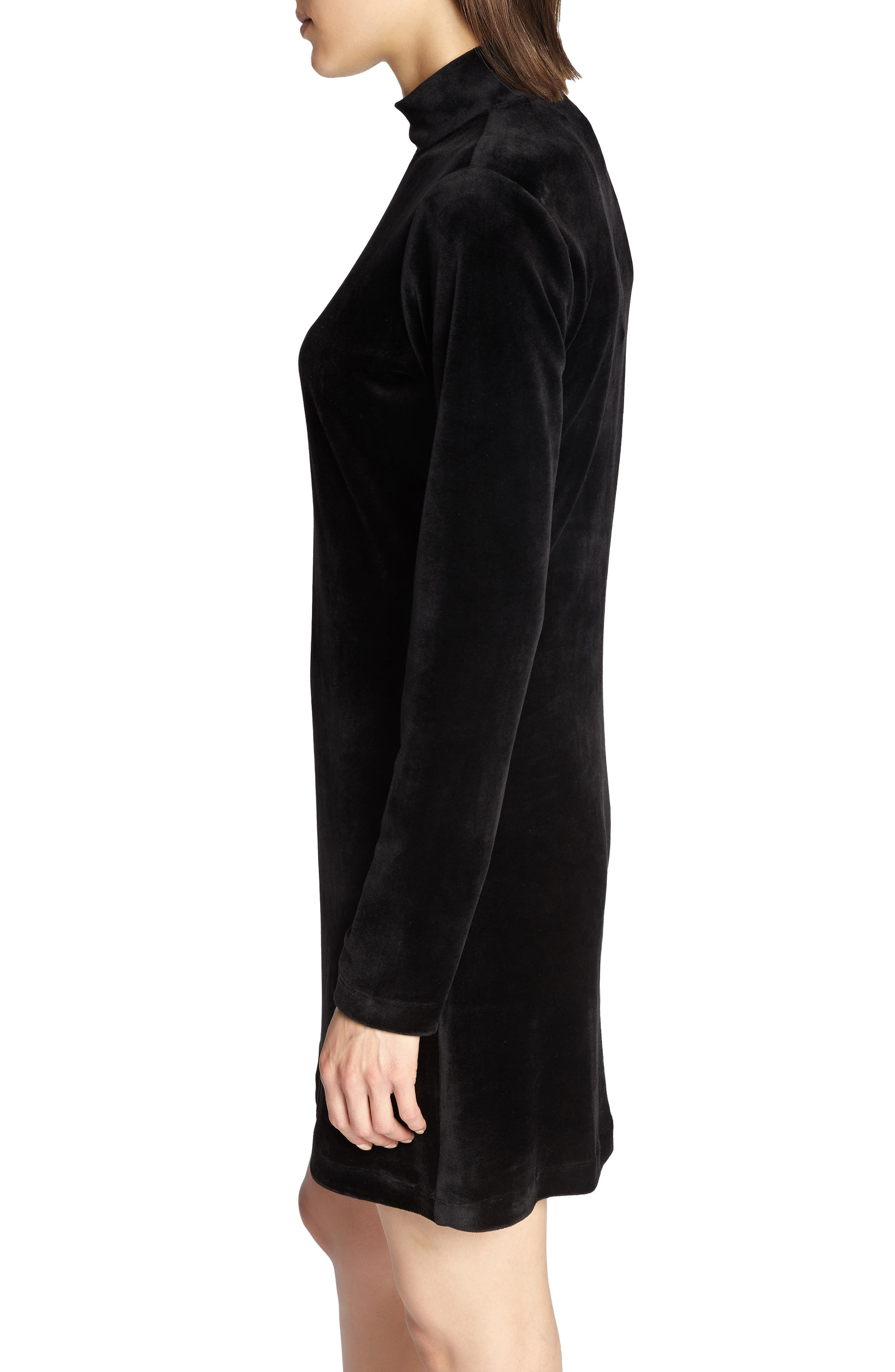Endless Night Velour Dress,                             Alternate thumbnail 3, color,                             BLACK