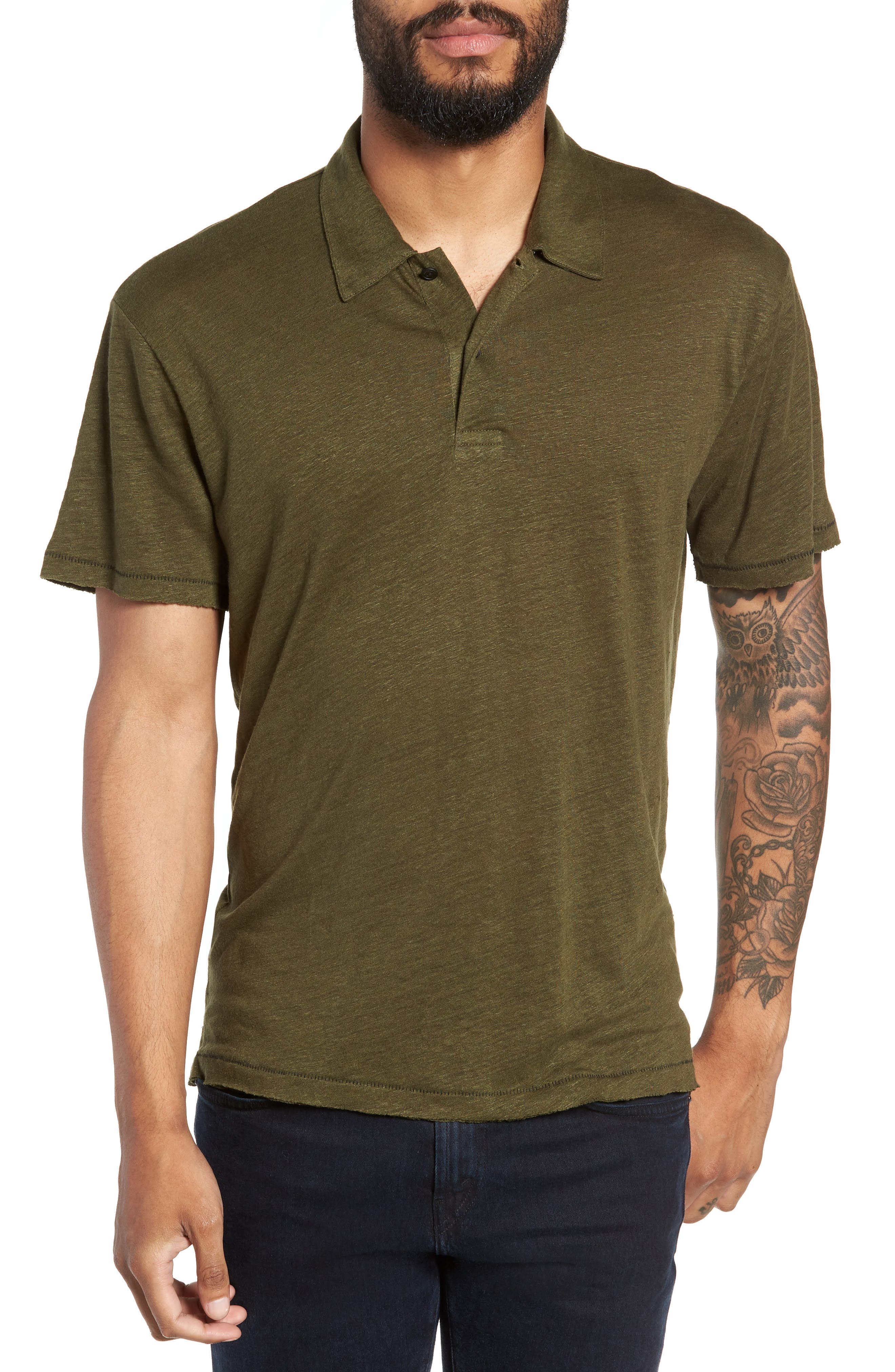 Owen Regular Fit Linen Polo,                             Main thumbnail 1, color,                             ARMY