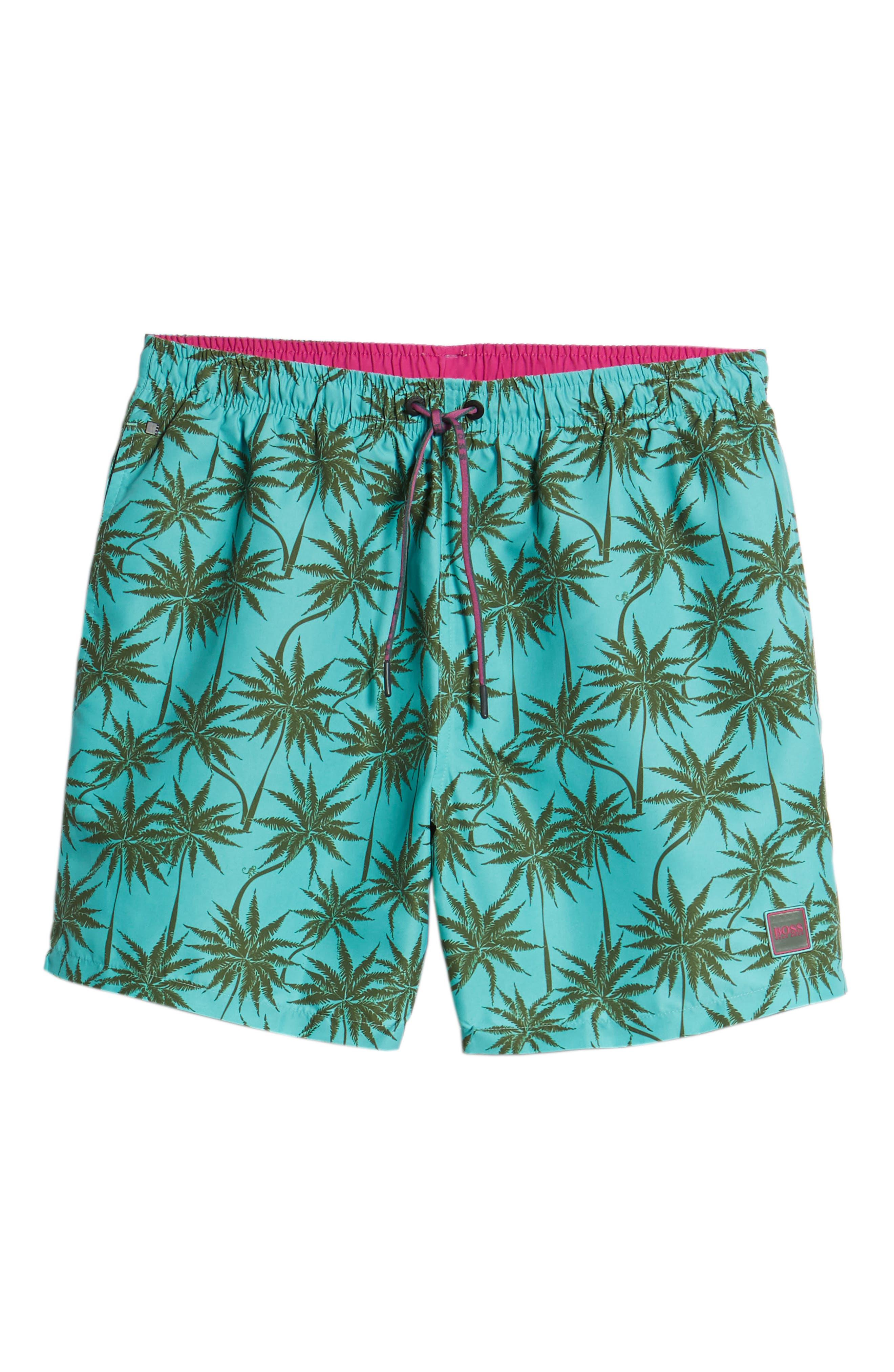 Piranha Palm Tree Swim Trunks,                             Alternate thumbnail 6, color,                             483
