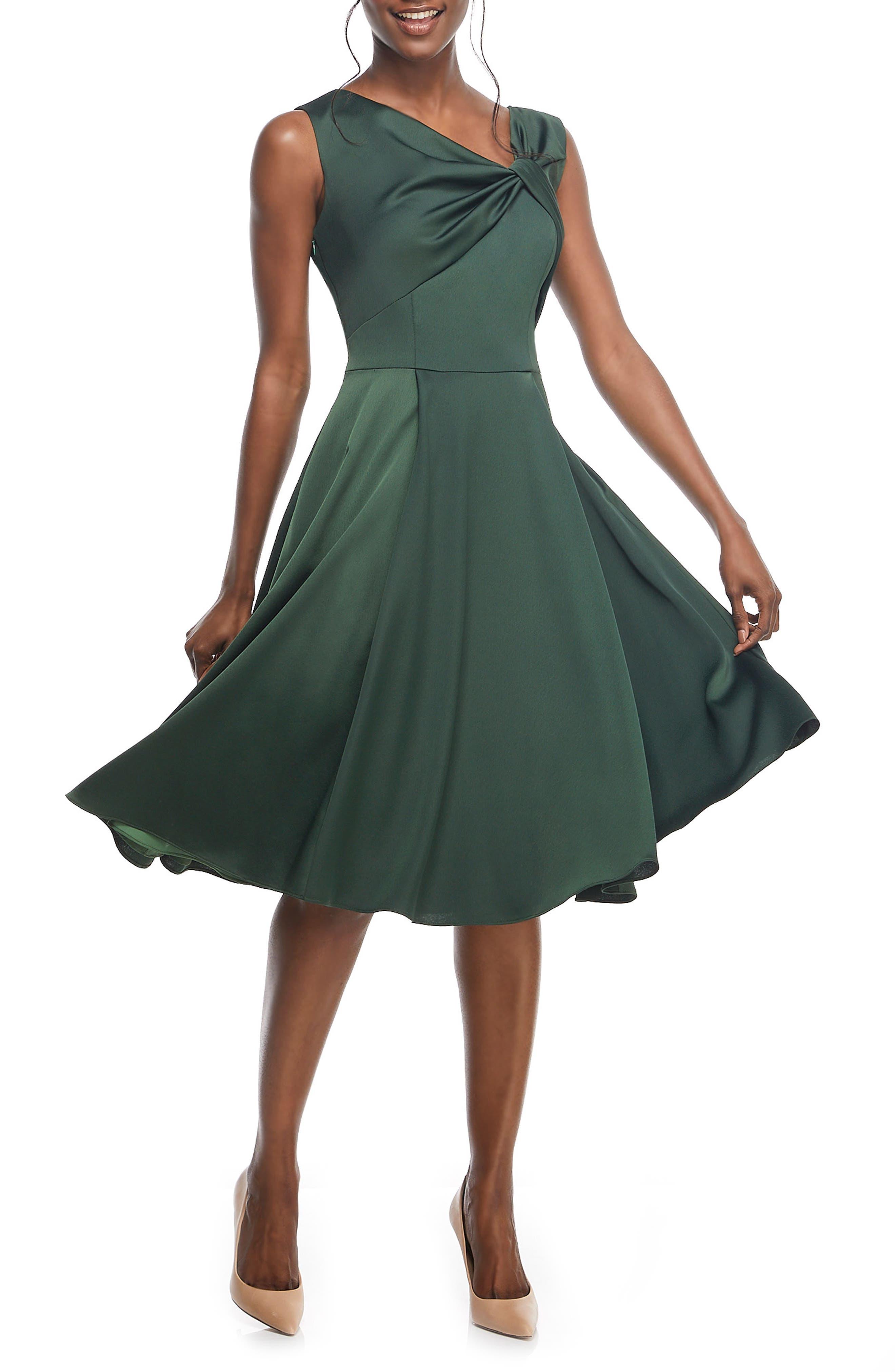Noelle Twist Neck Satin Dress,                             Alternate thumbnail 3, color,                             306