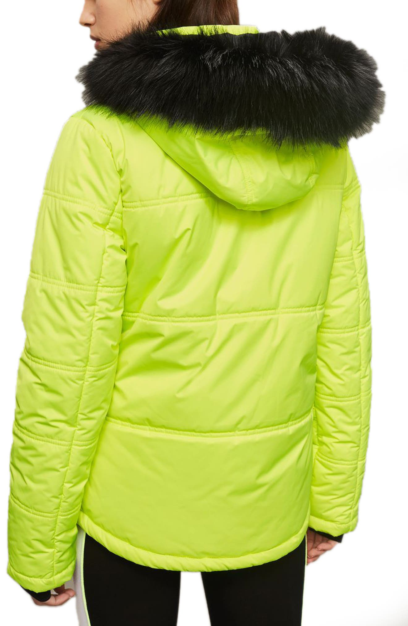 SNO Rio Faux Fur Hood Neon Puffer Jacket,                             Alternate thumbnail 4, color,