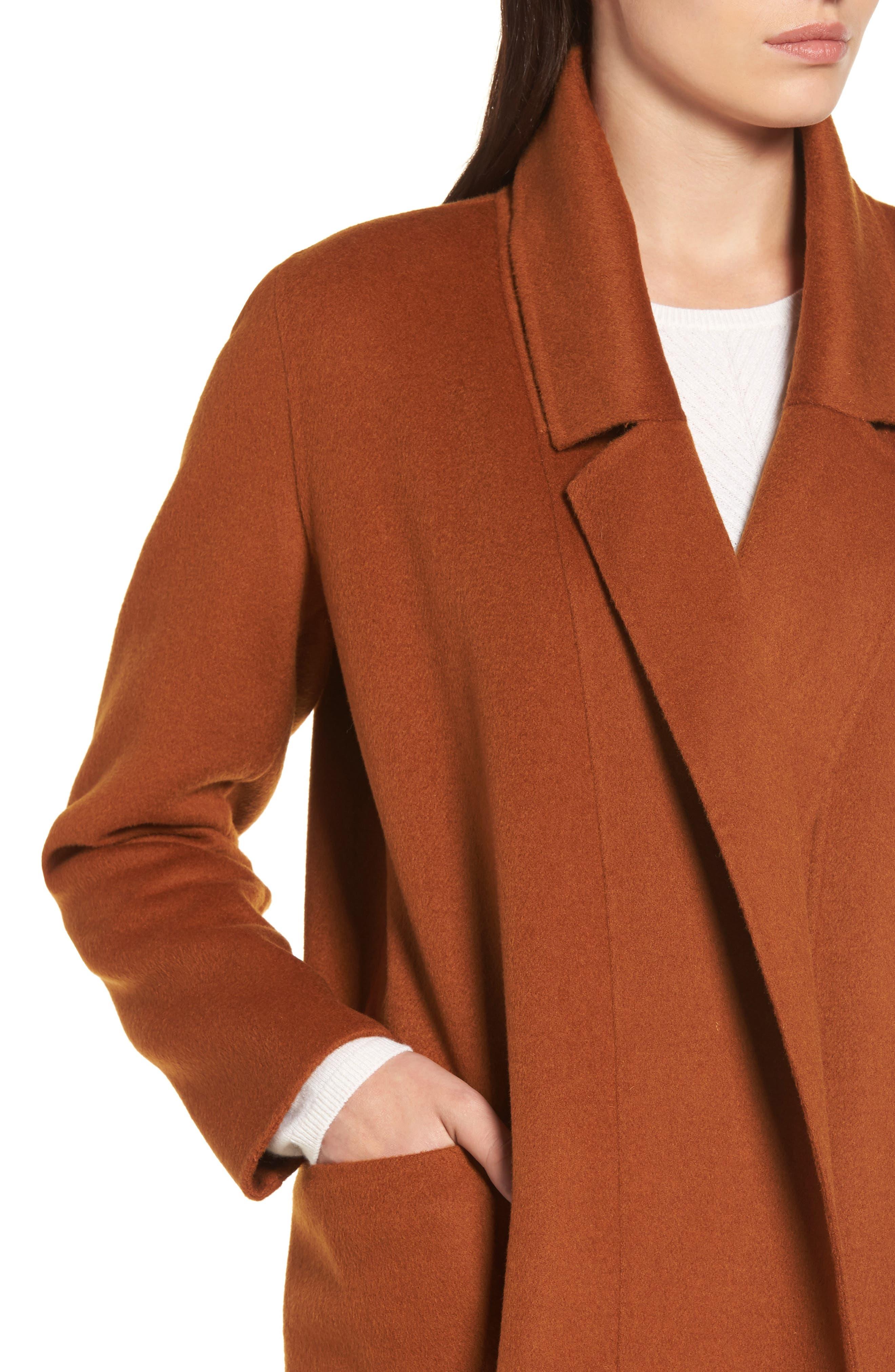 Ellie Notch Wool & Cashmere Duster Coat,                             Alternate thumbnail 4, color,                             200