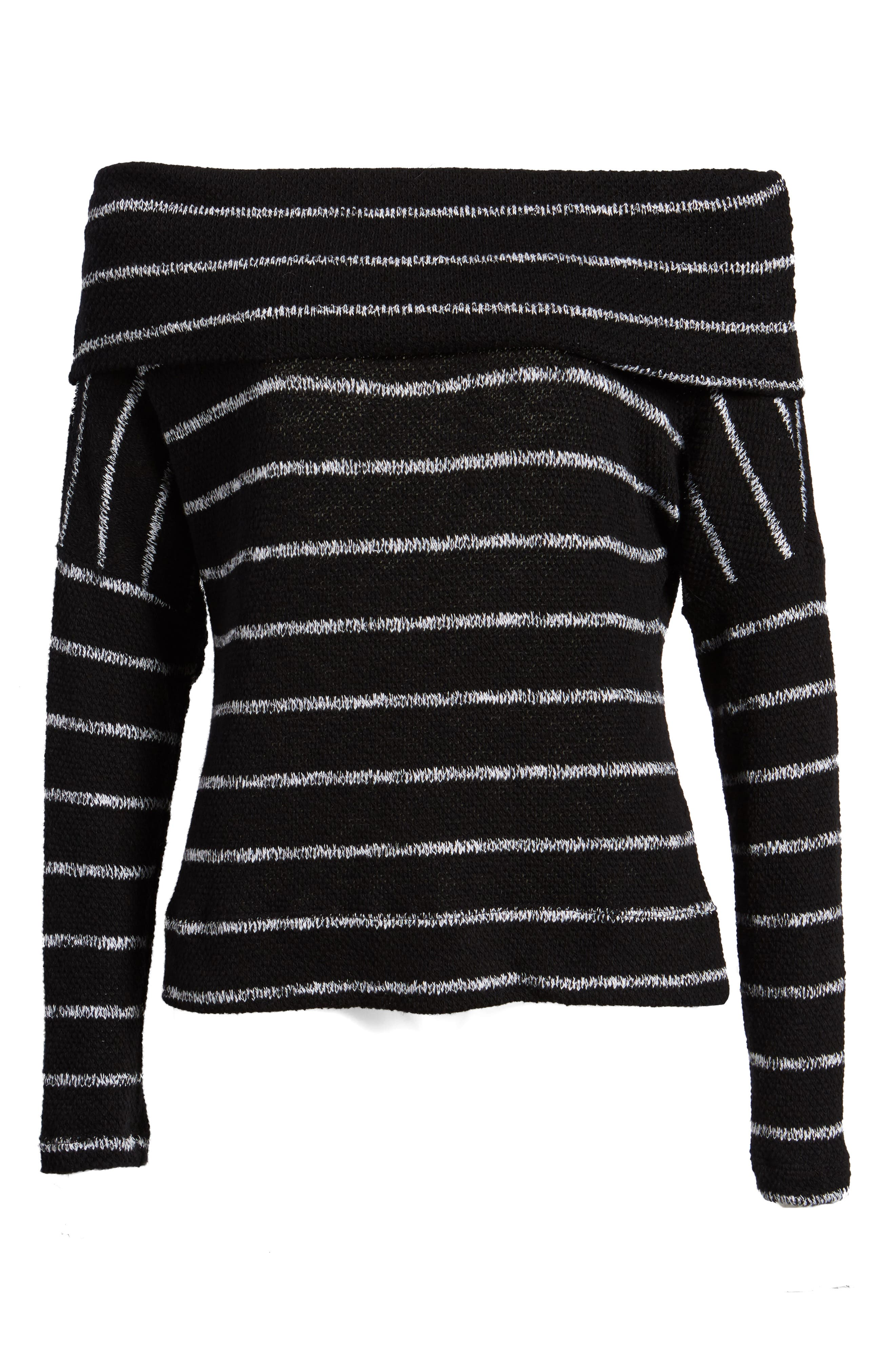 Convertible Neck Knit Pullover,                             Alternate thumbnail 7, color,                             001