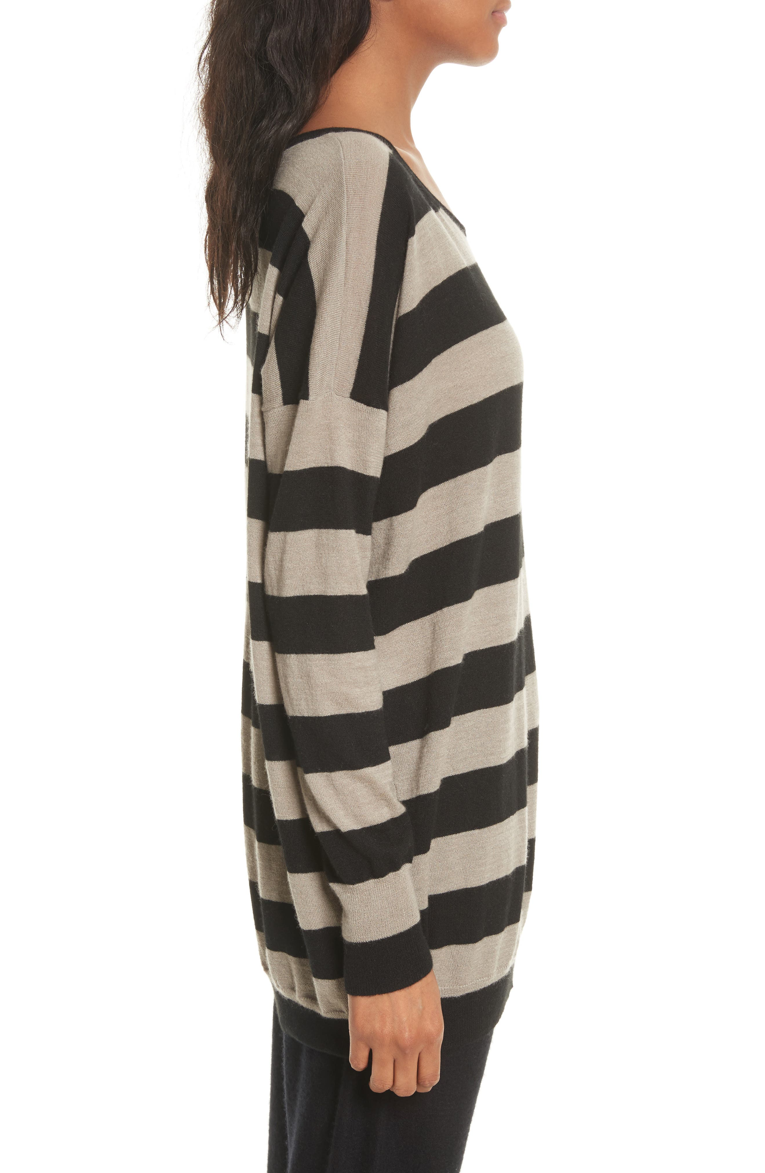 Wide Stripe Wool & Cashmere Sweater,                             Alternate thumbnail 3, color,                             260
