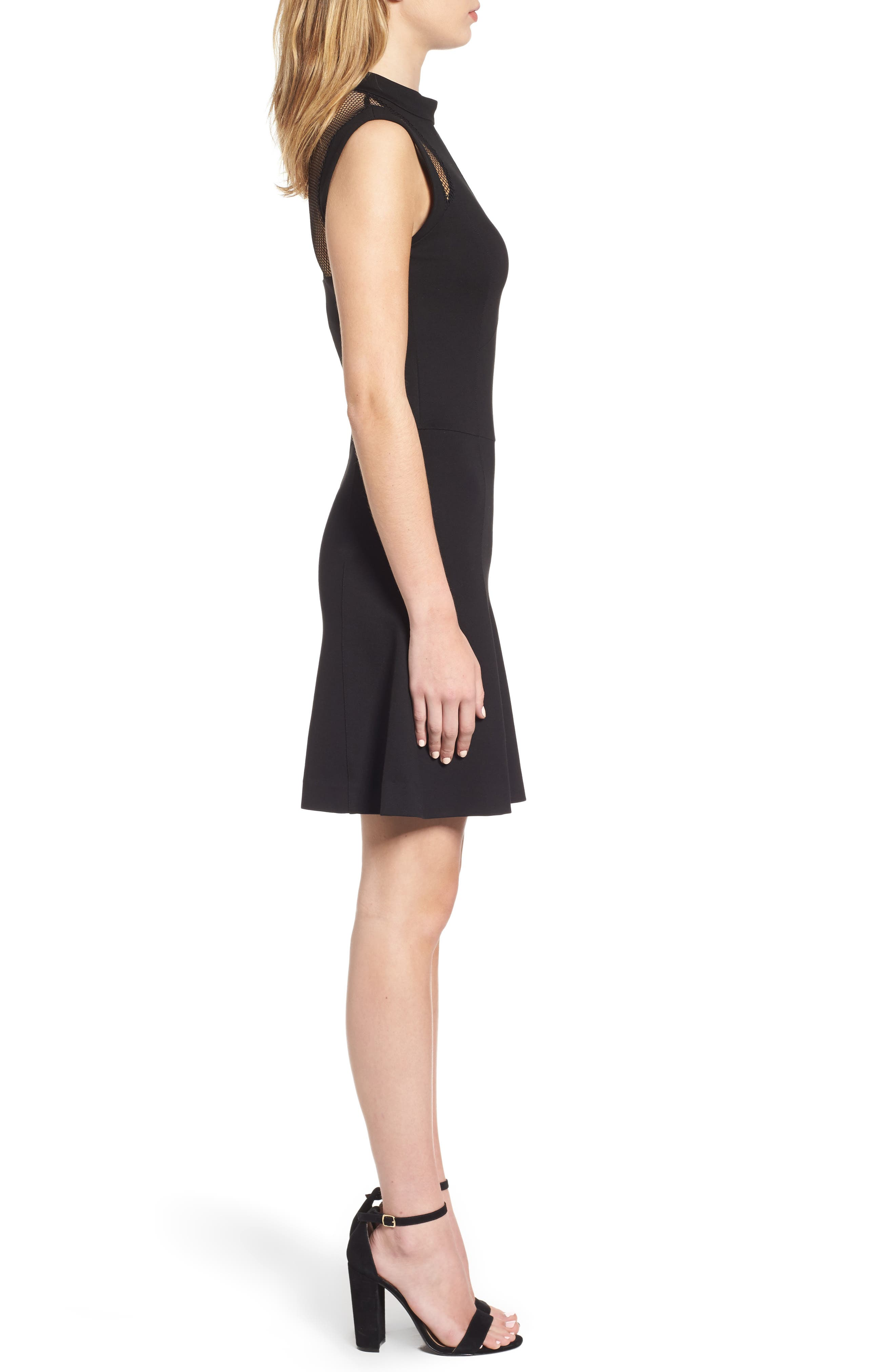 Galactica Fit & Flare Dress,                             Alternate thumbnail 3, color,                             001