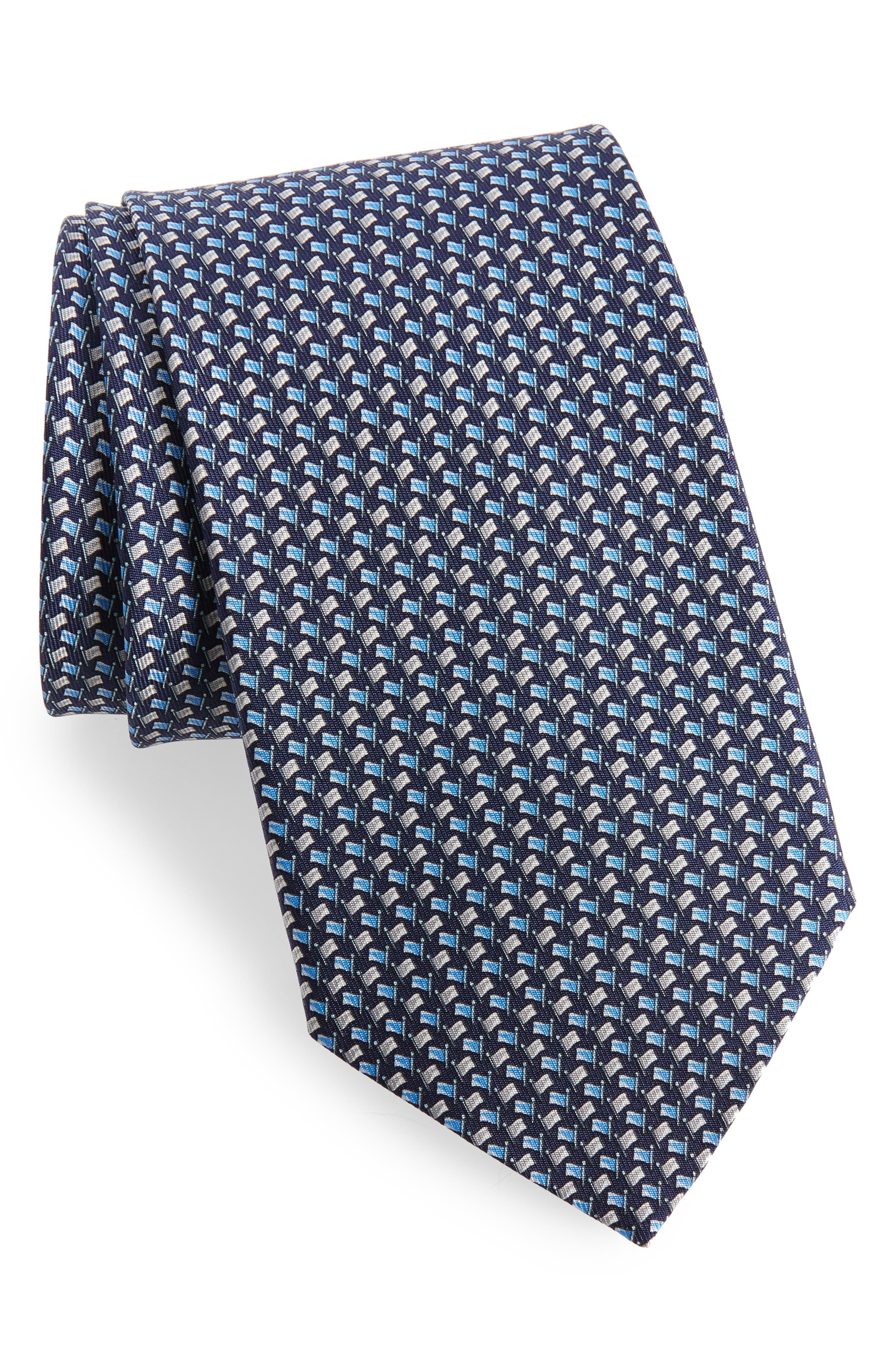 Edda Geometric Silk Tie,                             Main thumbnail 1, color,                             491