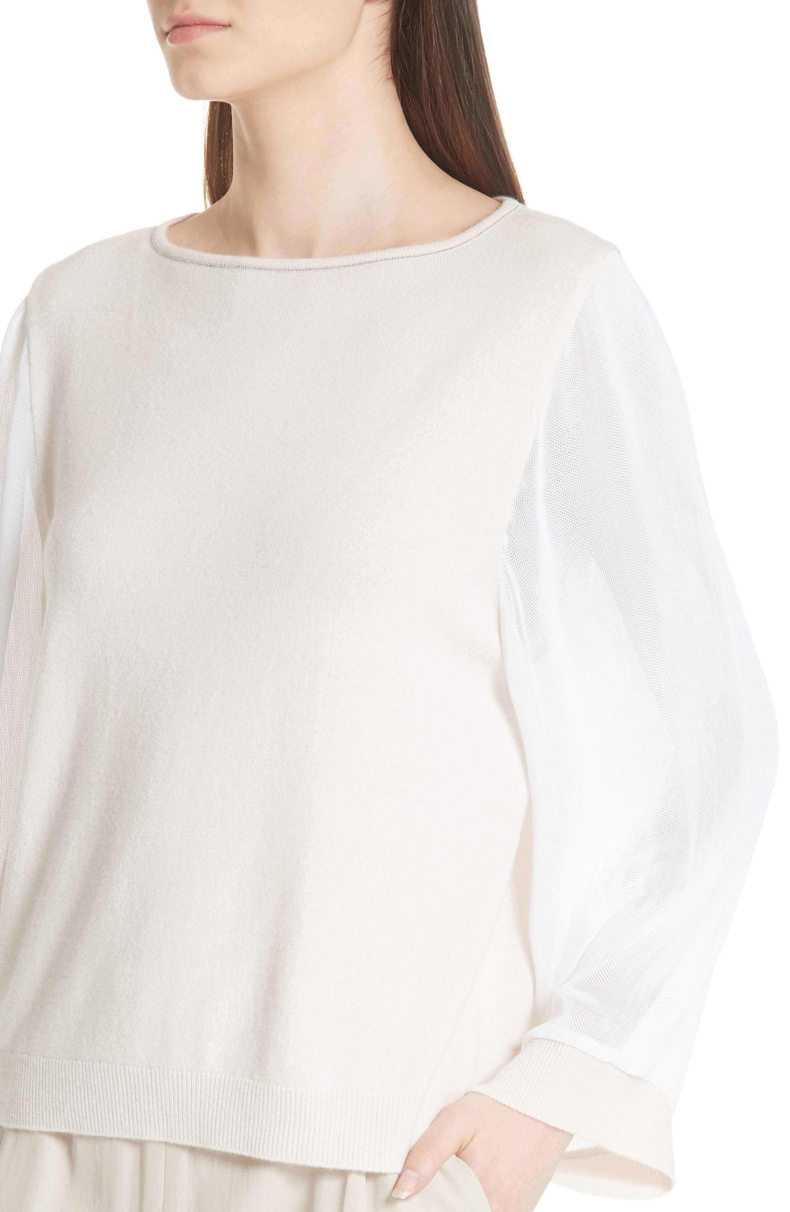 Mesh Sleeve Cashmere Sweater,                             Alternate thumbnail 4, color,                             020