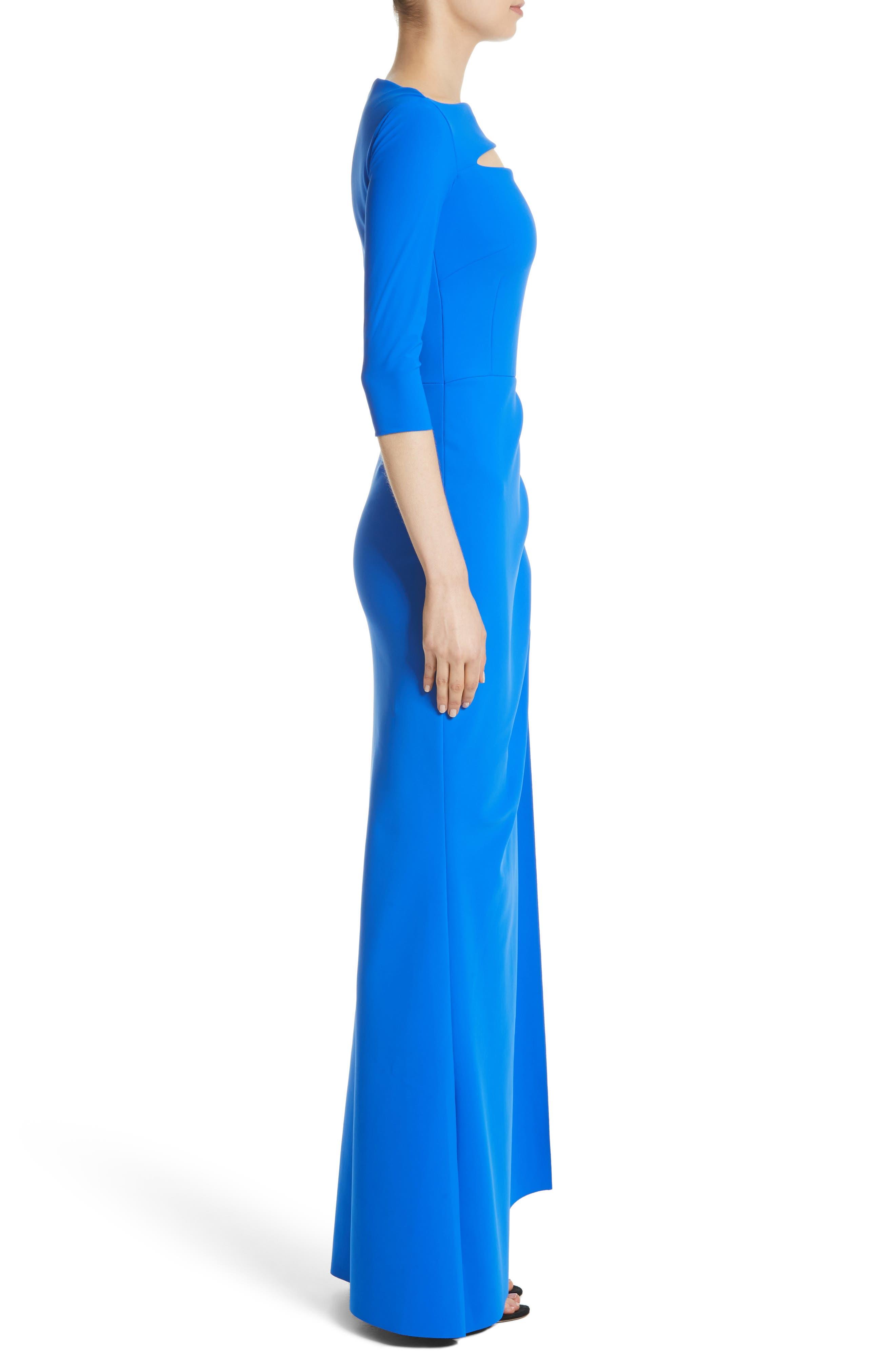 Slit Bodice Drape Front Gown,                             Alternate thumbnail 3, color,                             COLBALT