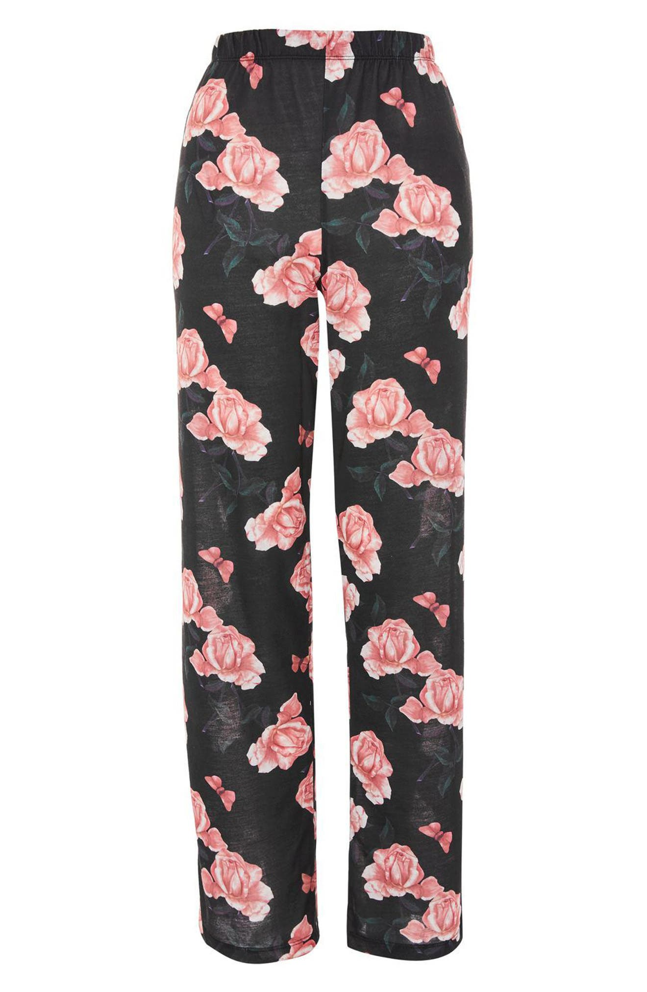 Rose Pajama Pants,                             Alternate thumbnail 3, color,                             001