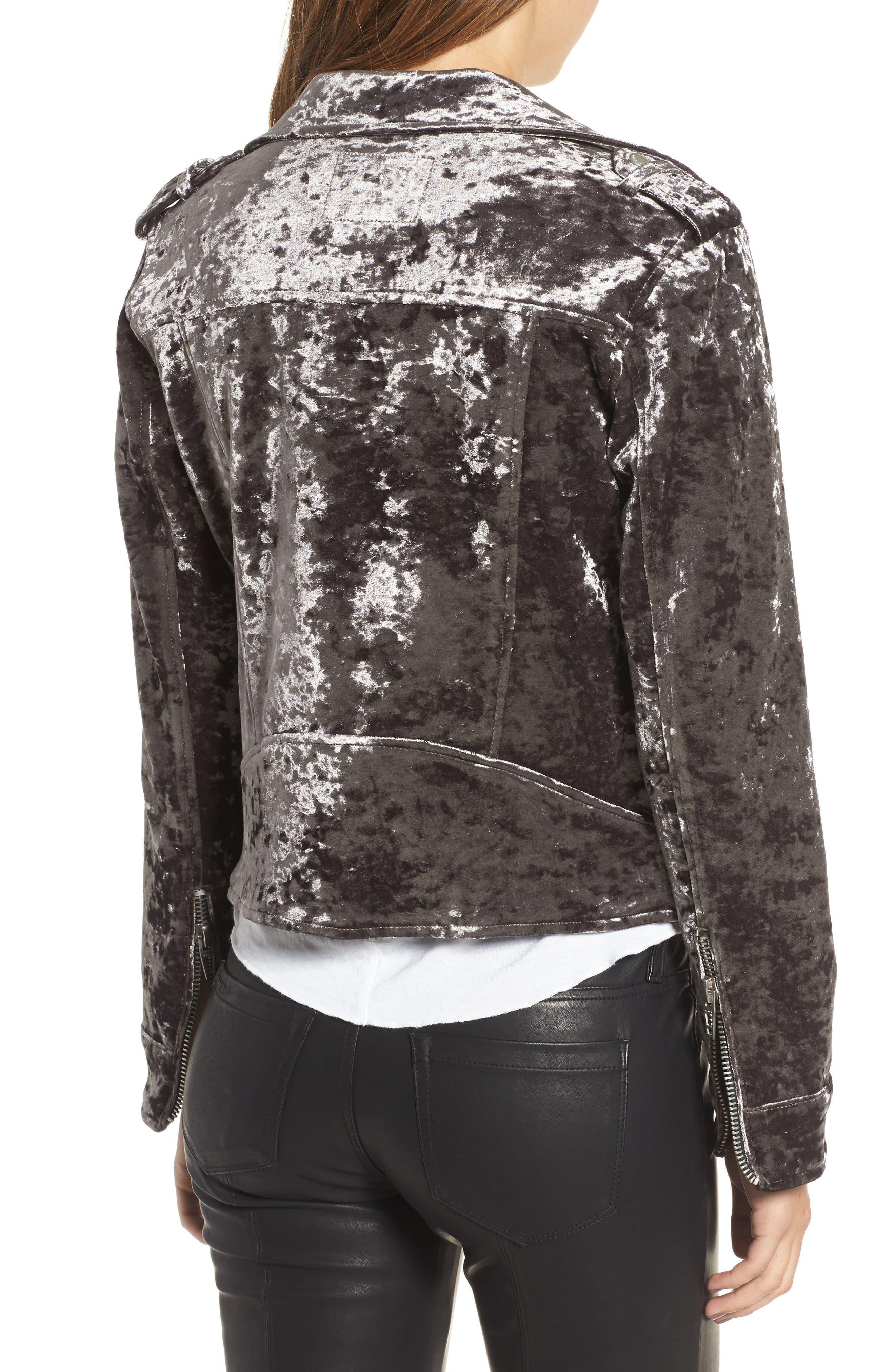 Bonded Velvet Moto Jacket,                             Alternate thumbnail 2, color,                             020