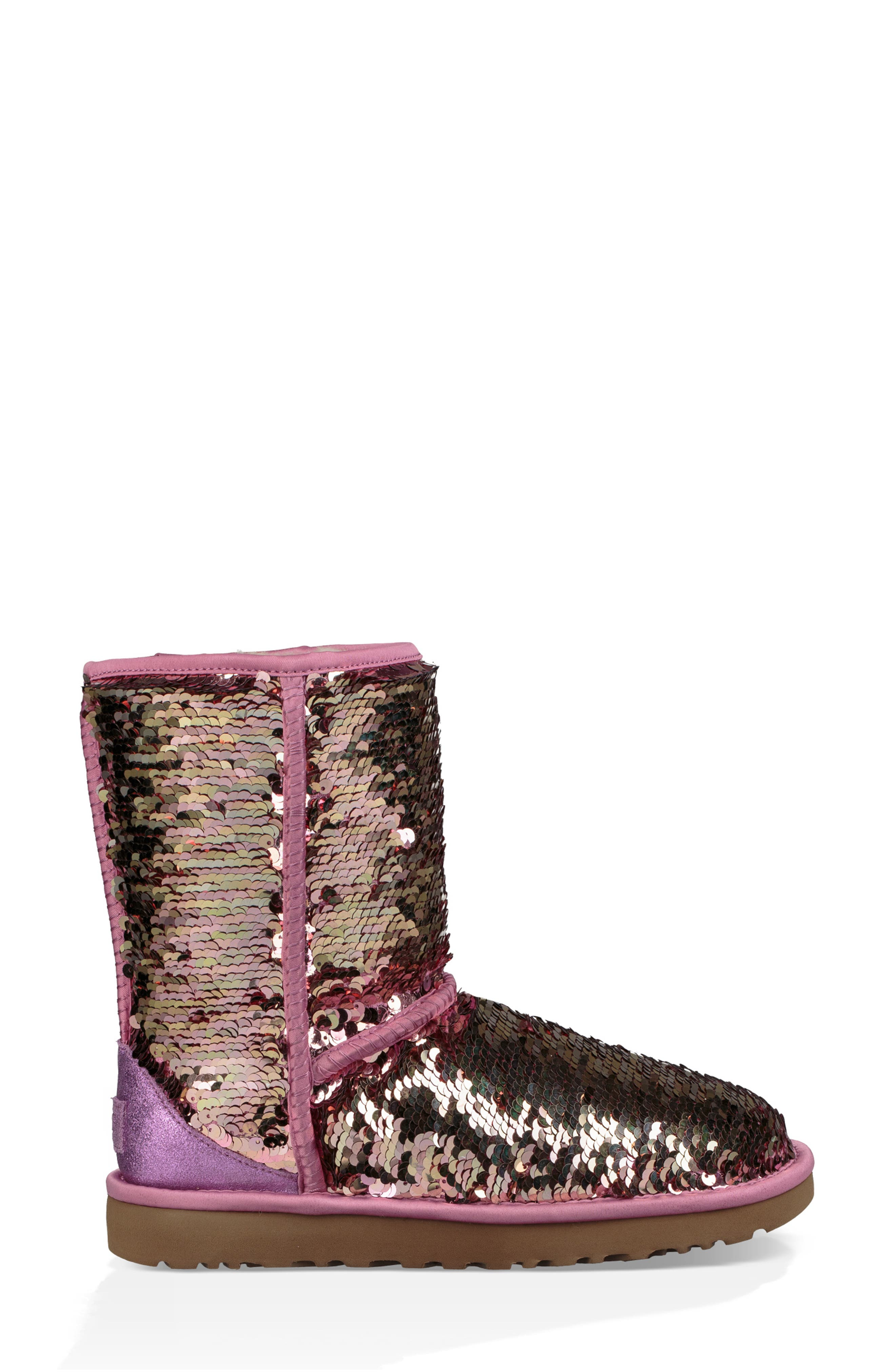 UGG<SUP>®</SUP>,                             Classic Short Sequin Boot,                             Alternate thumbnail 3, color,                             PINK