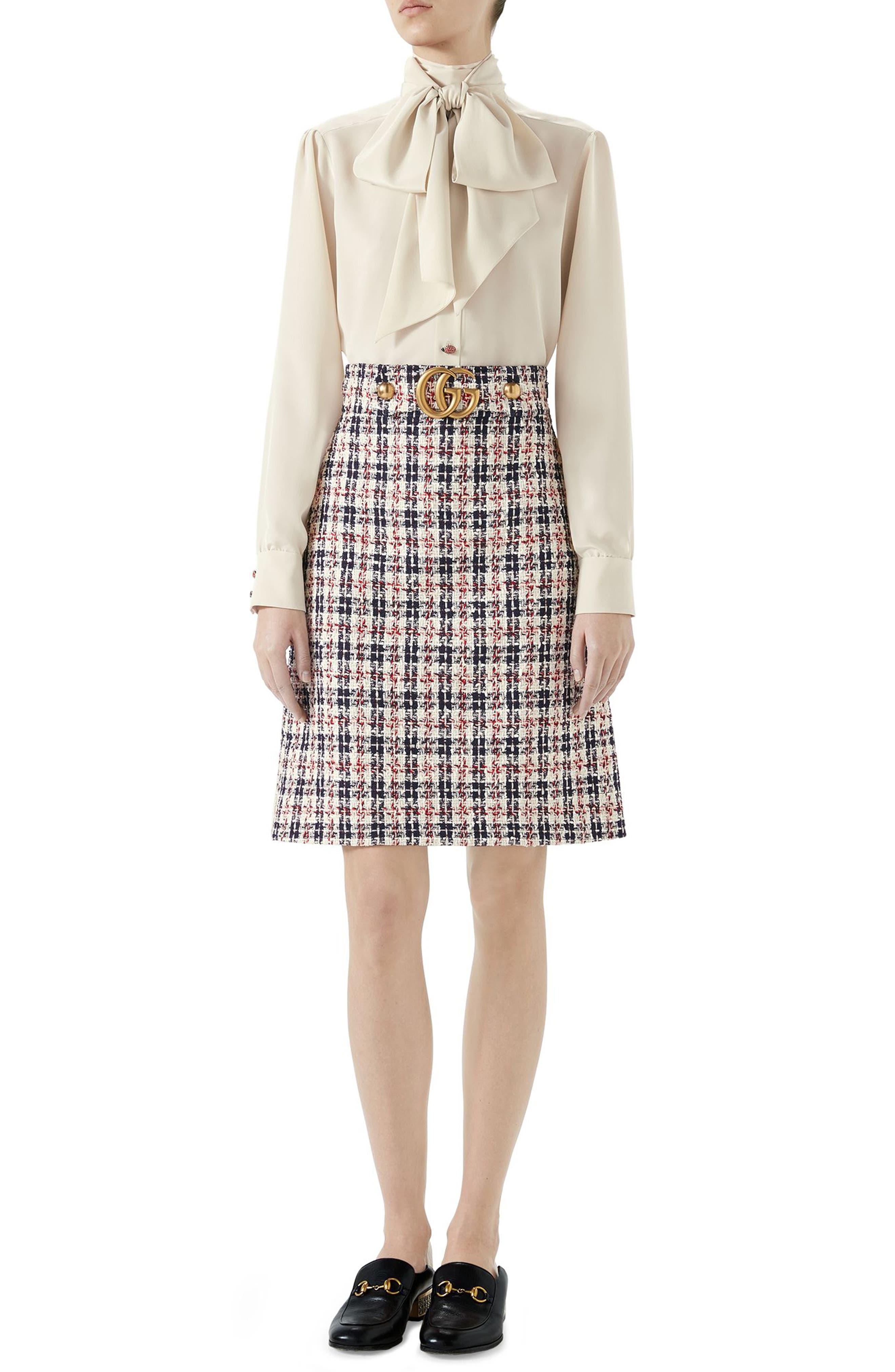 Tweed A-Line Skirt,                             Alternate thumbnail 4, color,                             GARDENIA/ INK