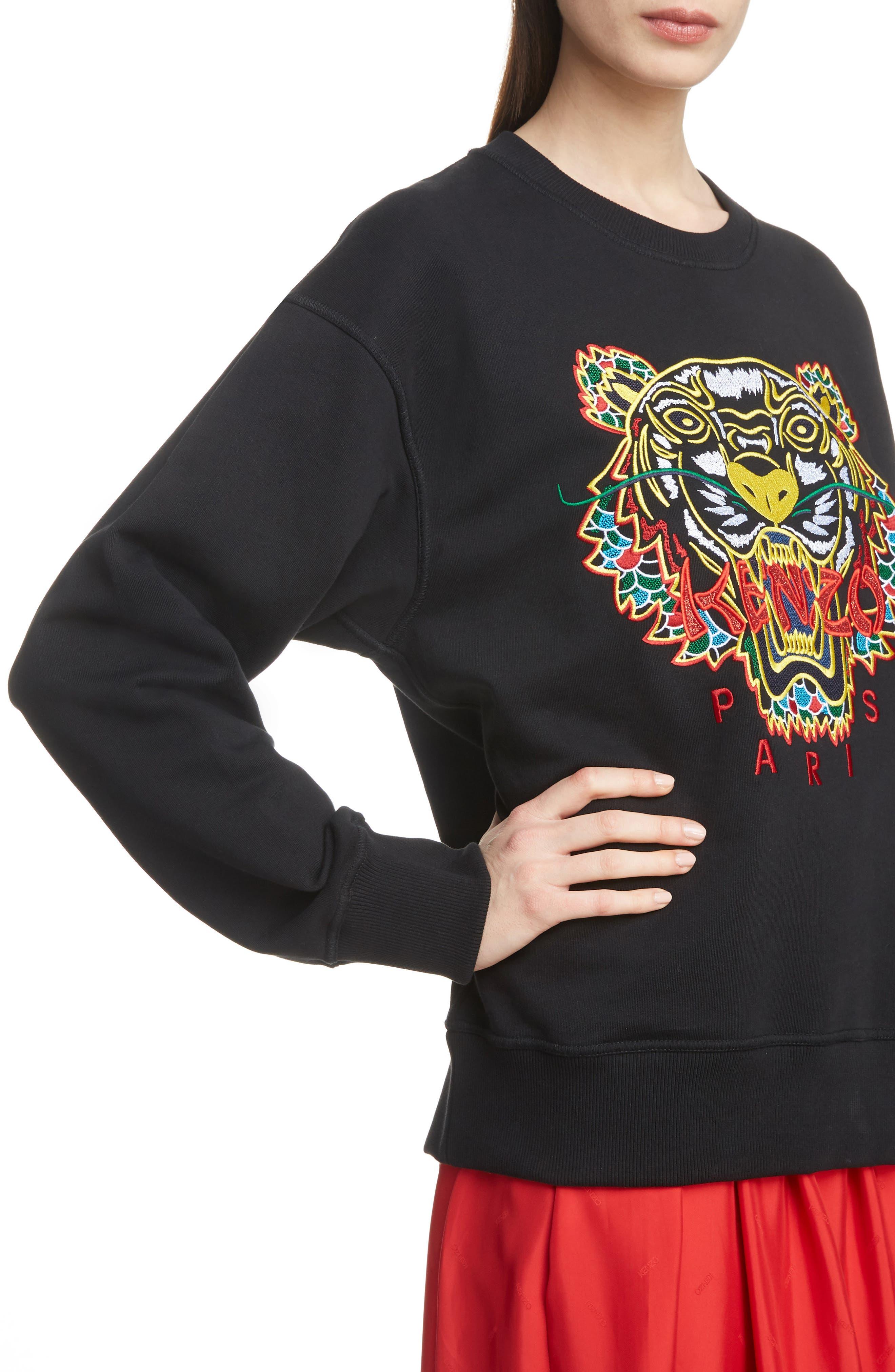 Tiger Relax Sweatshirt,                             Alternate thumbnail 4, color,                             BLACK
