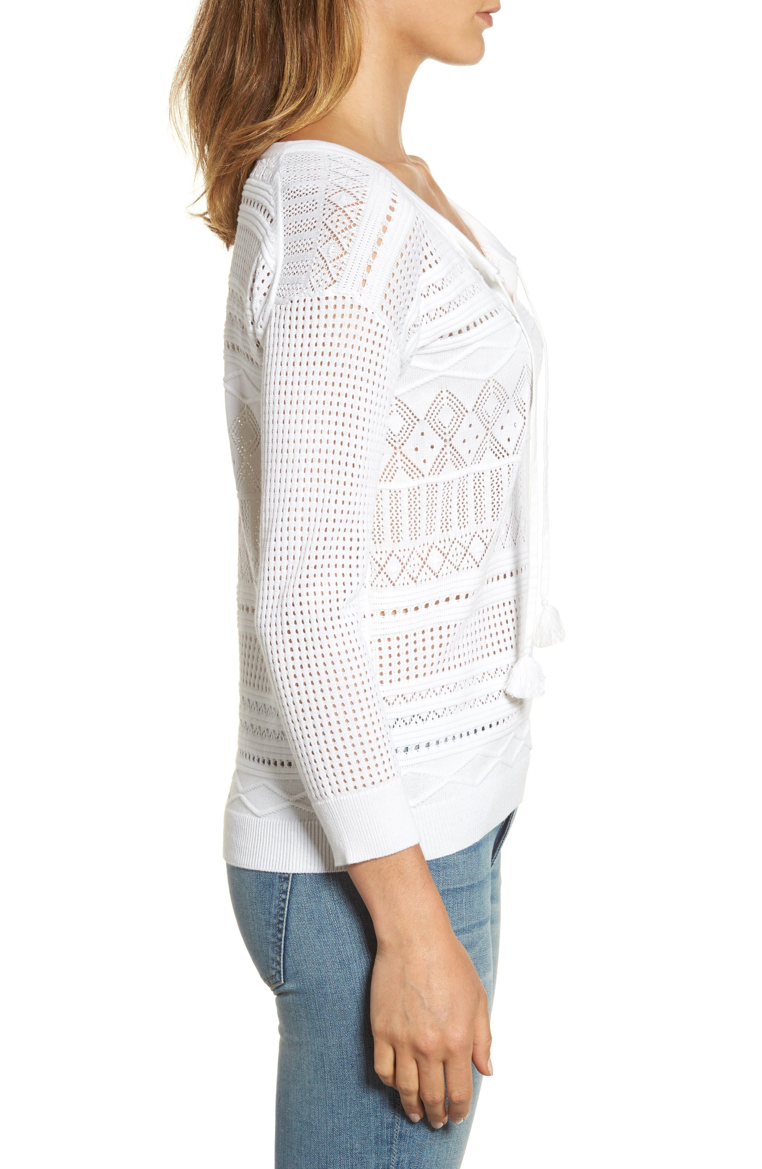 Pickford Pointelle Split Neck Sweater,                             Alternate thumbnail 3, color,                             100