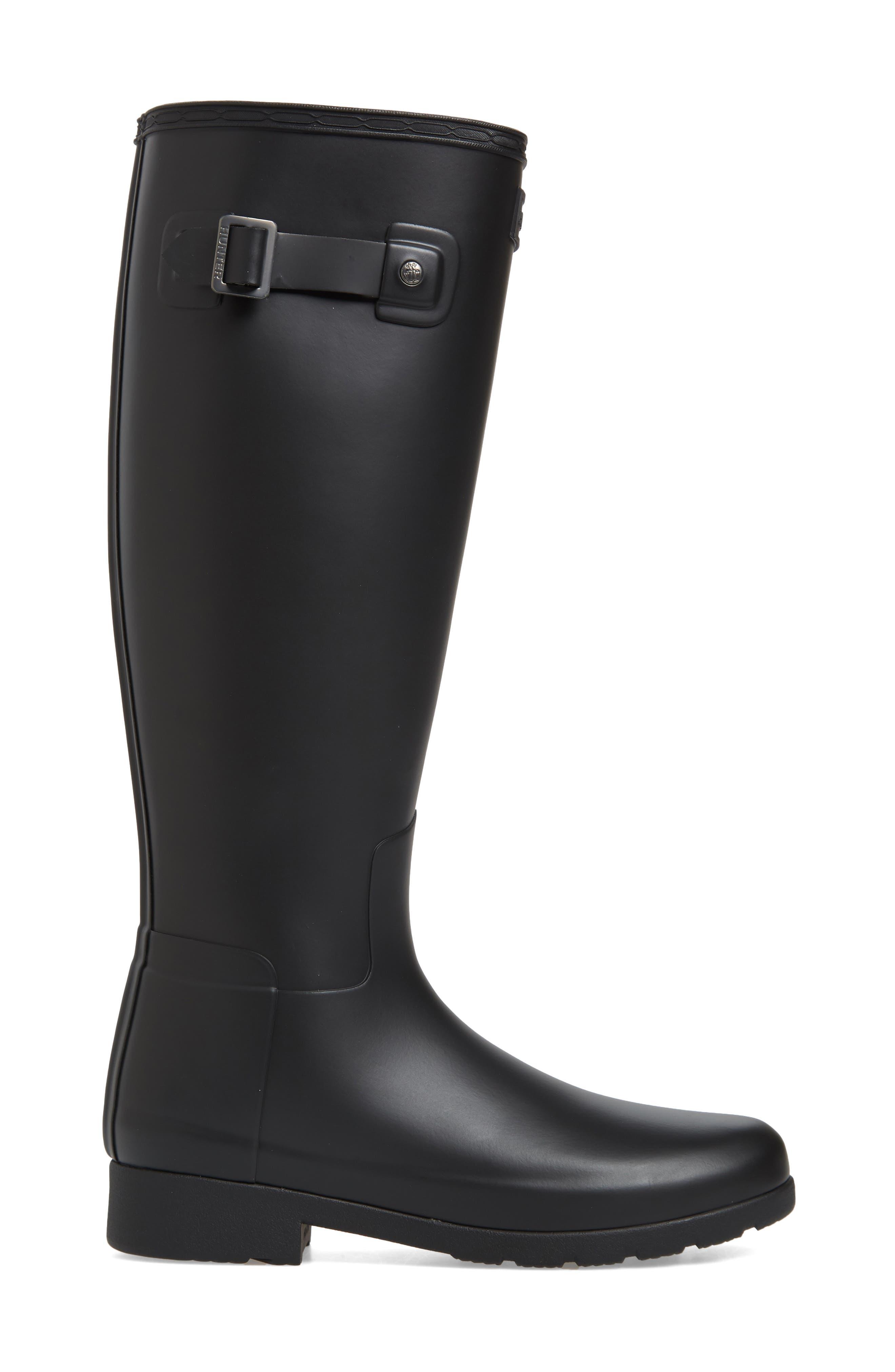 HUNTER,                             Original Refined Waterproof Rain Boot,                             Alternate thumbnail 3, color,                             BLACK REGULAR