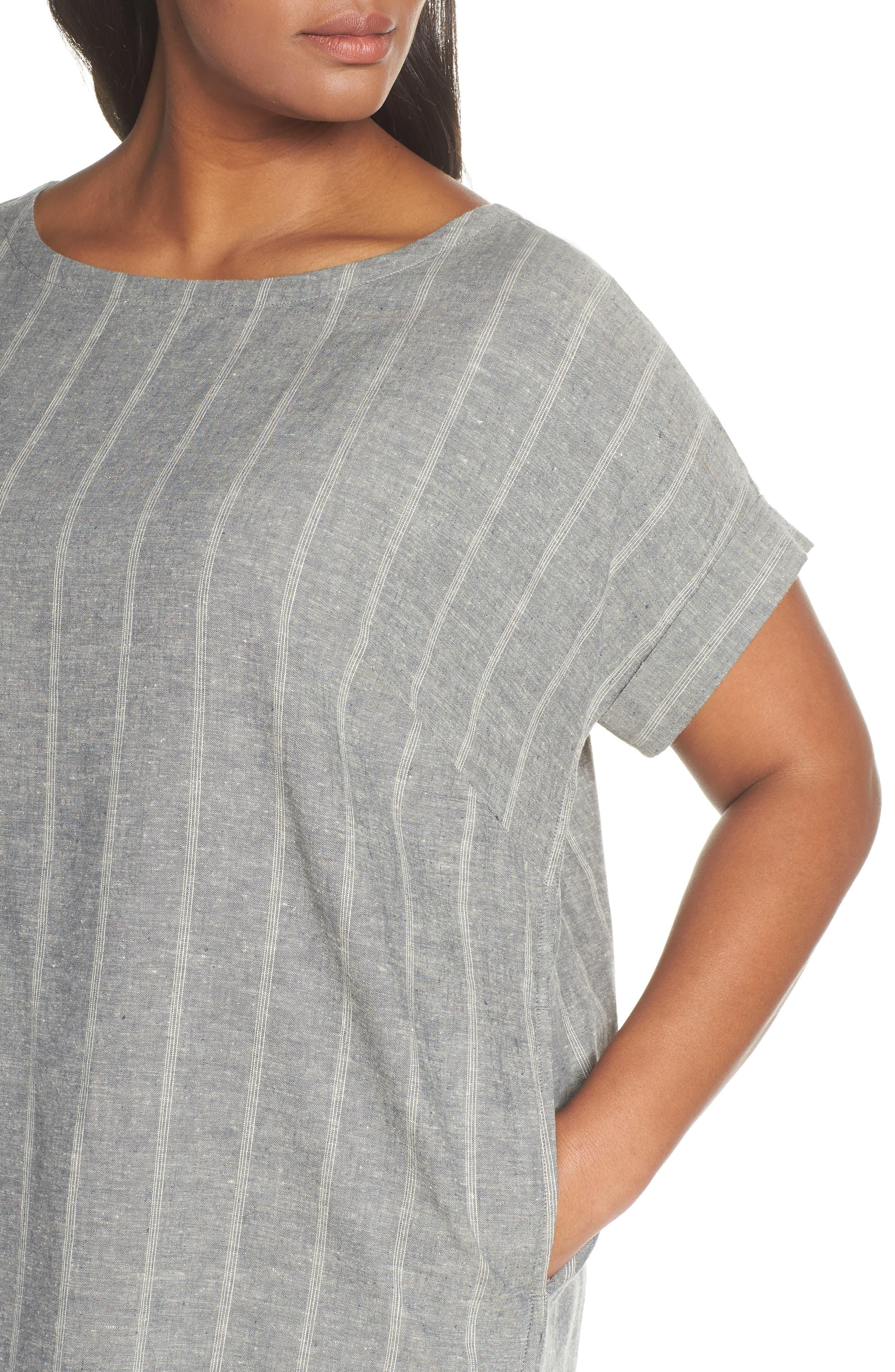 EILEEN FISHER,                             Stripe Hemp & Organic Cotton Shift Dress,                             Alternate thumbnail 5, color,                             MOON