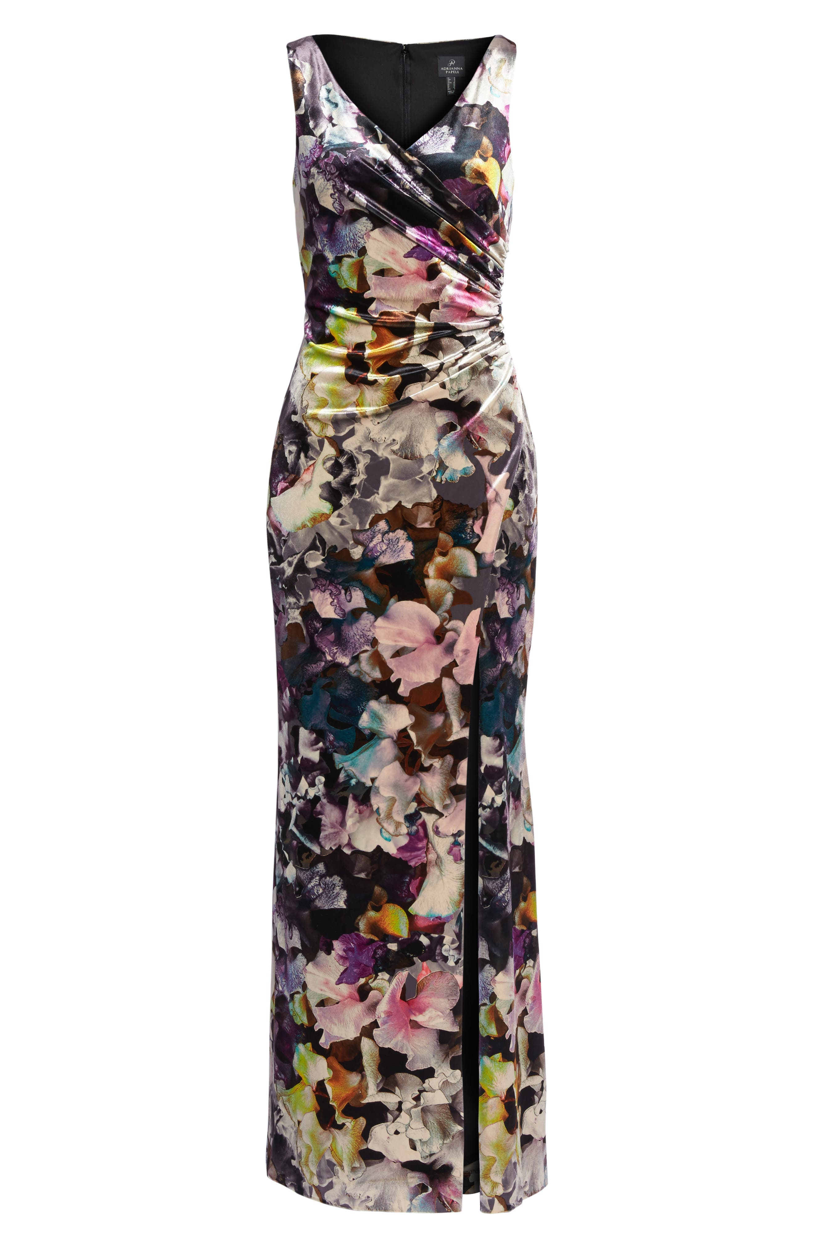 Floral Velvet Gown,                             Alternate thumbnail 6, color,                             590
