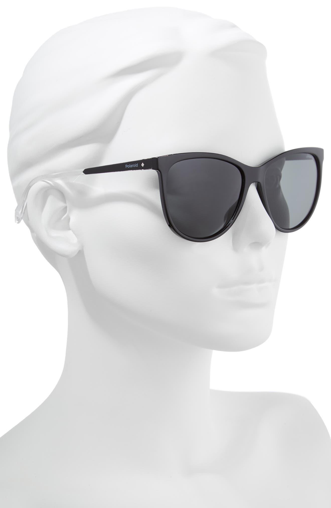 Basic 57mm Polarized Sunglasses,                             Alternate thumbnail 2, color,                             BLACK