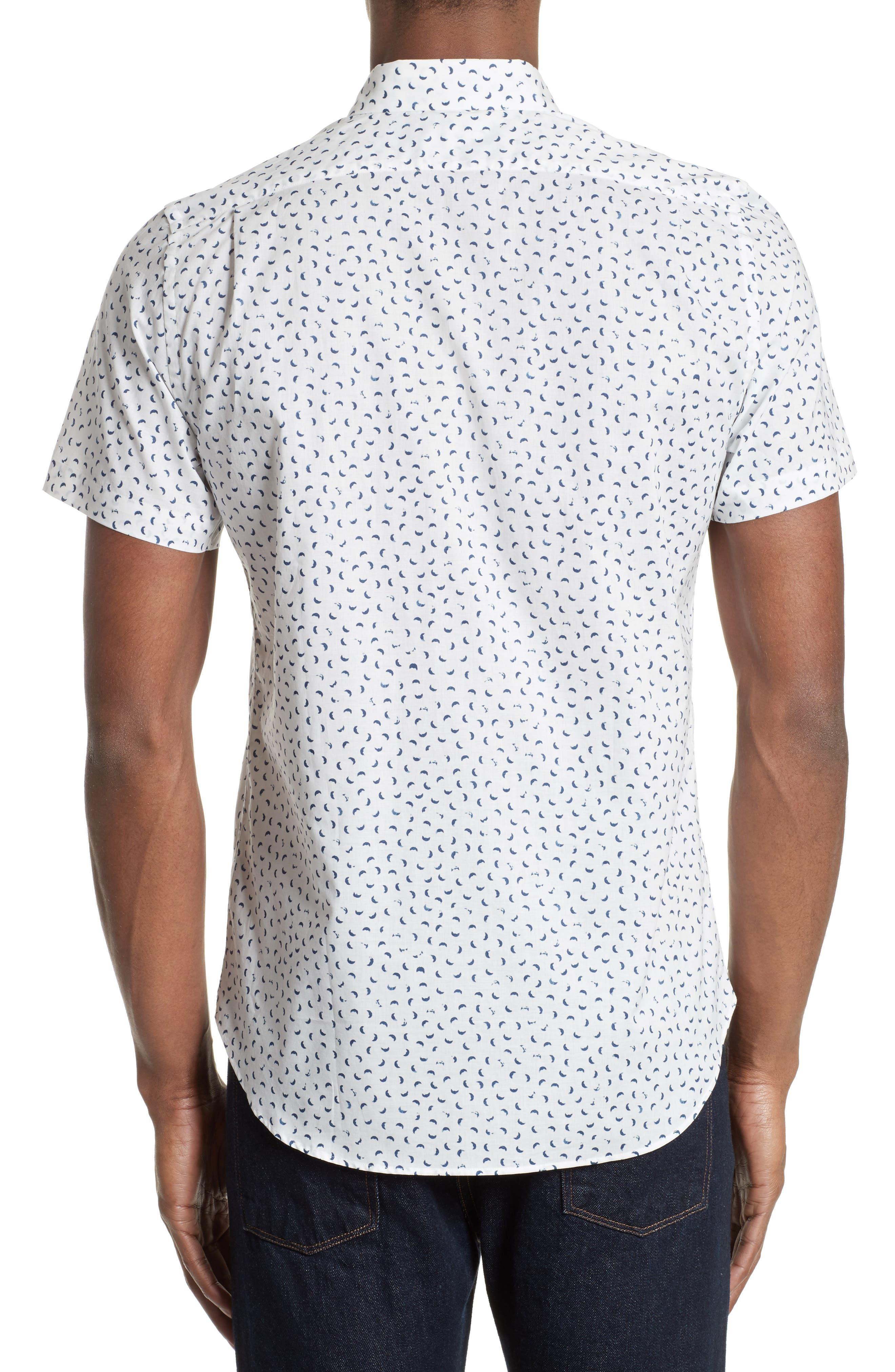Extra Trim Fit Half Moon Print Sport Shirt,                             Alternate thumbnail 3, color,                             108