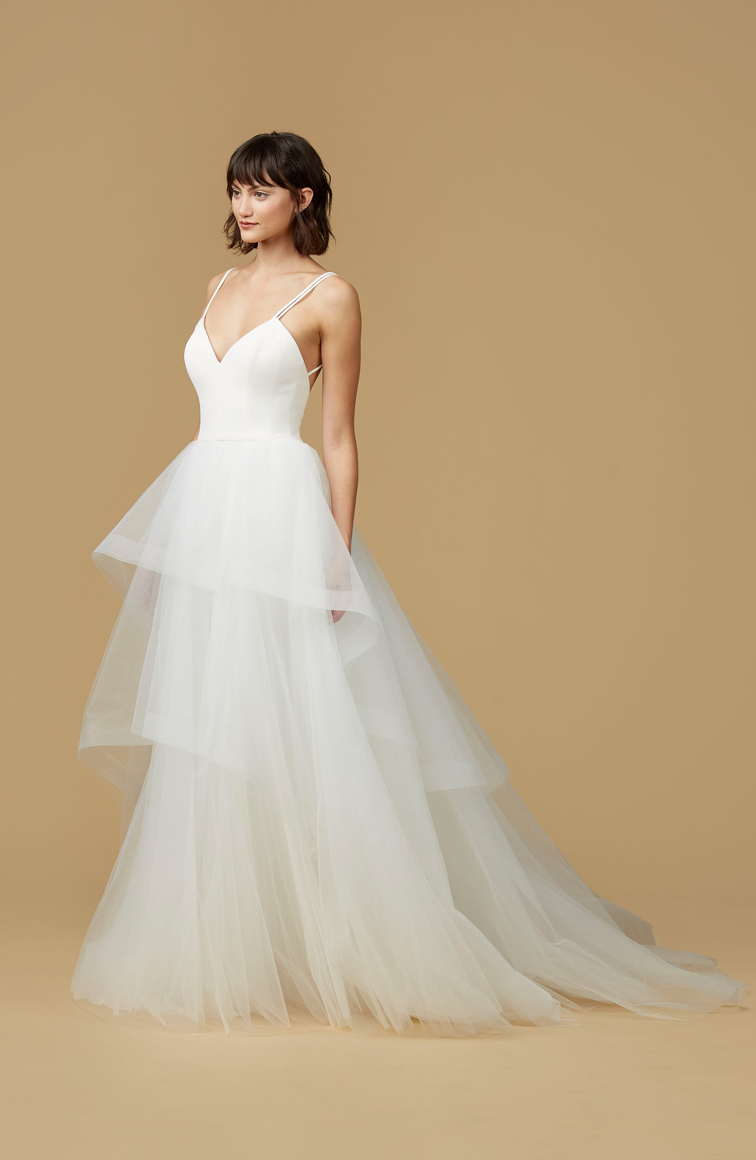 Mischa Strappy Tulle Ballgown,                             Alternate thumbnail 3, color,                             IVORY