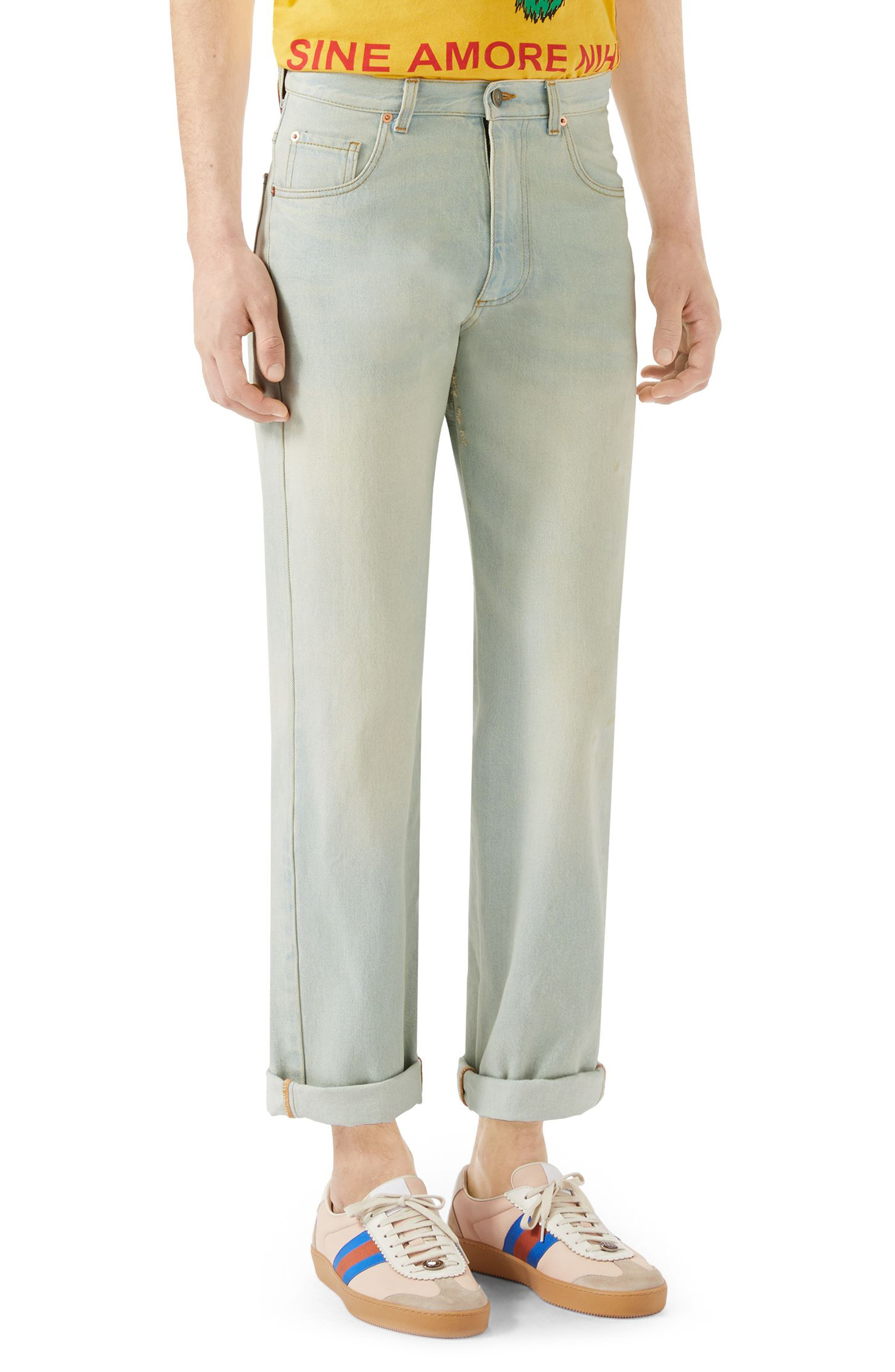 Bleach Washed Jeans,                         Main,                         color, LIGHT BLUE