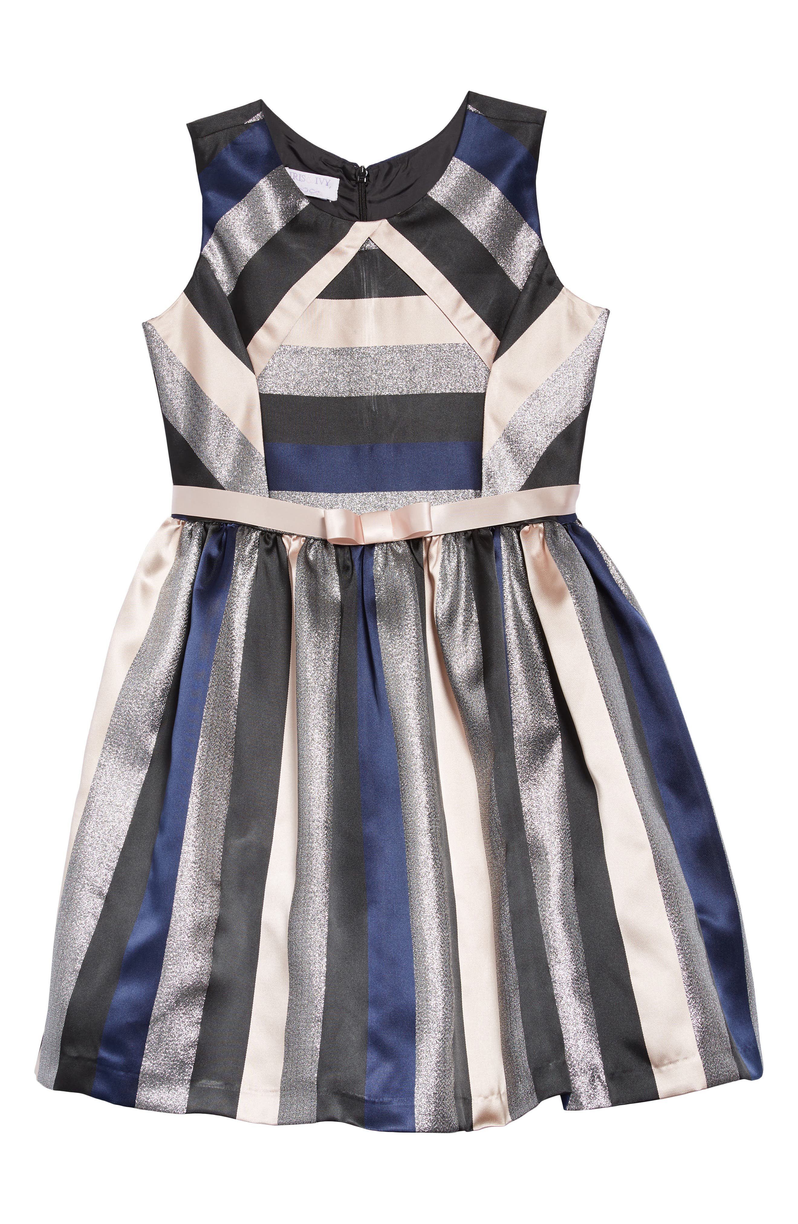 Stripe Dress,                             Main thumbnail 1, color,                             NAVY/ SILVER/ PINK