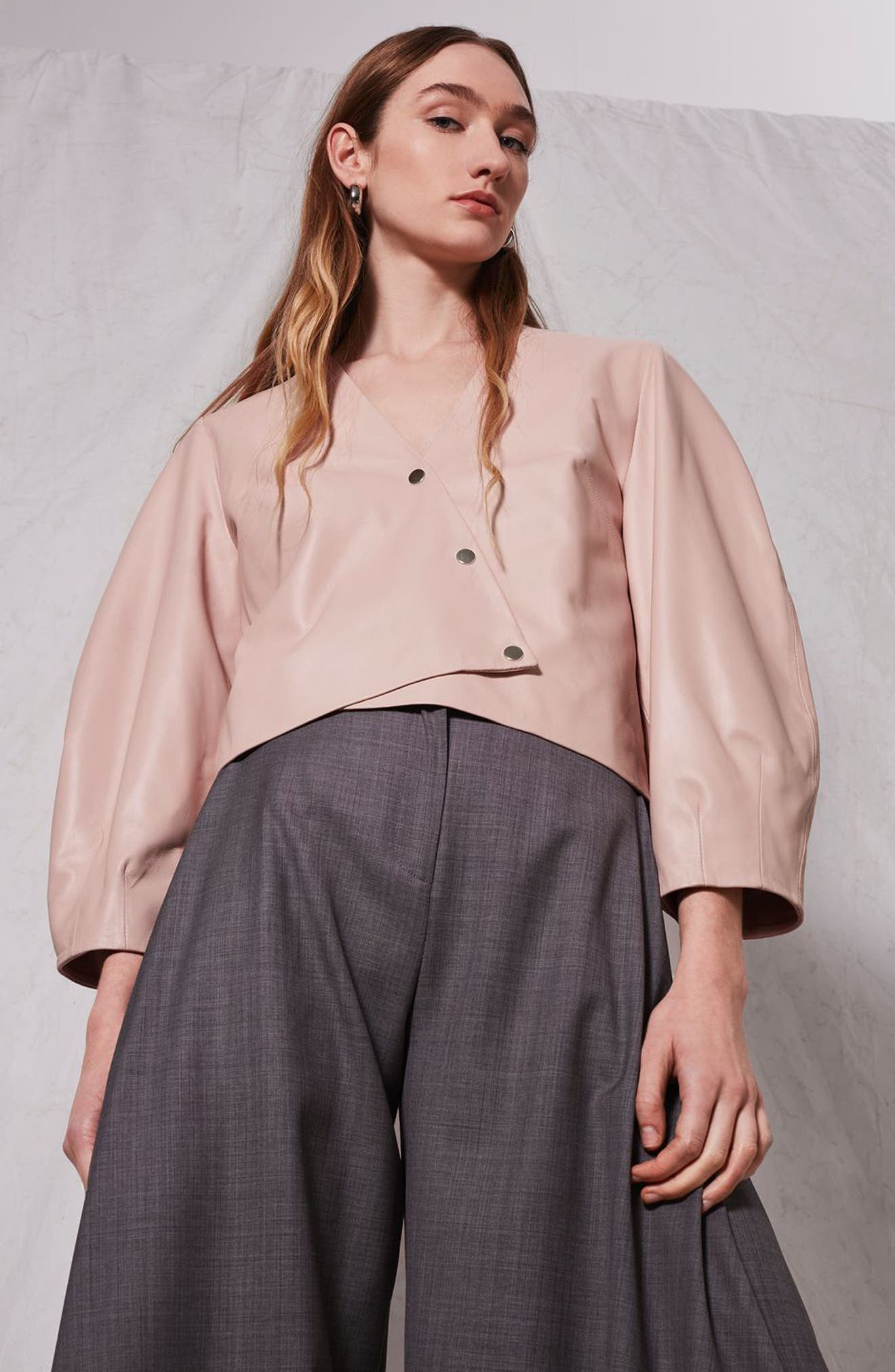 Leather Puff Sleeve Wrap Top,                             Alternate thumbnail 4, color,                             650