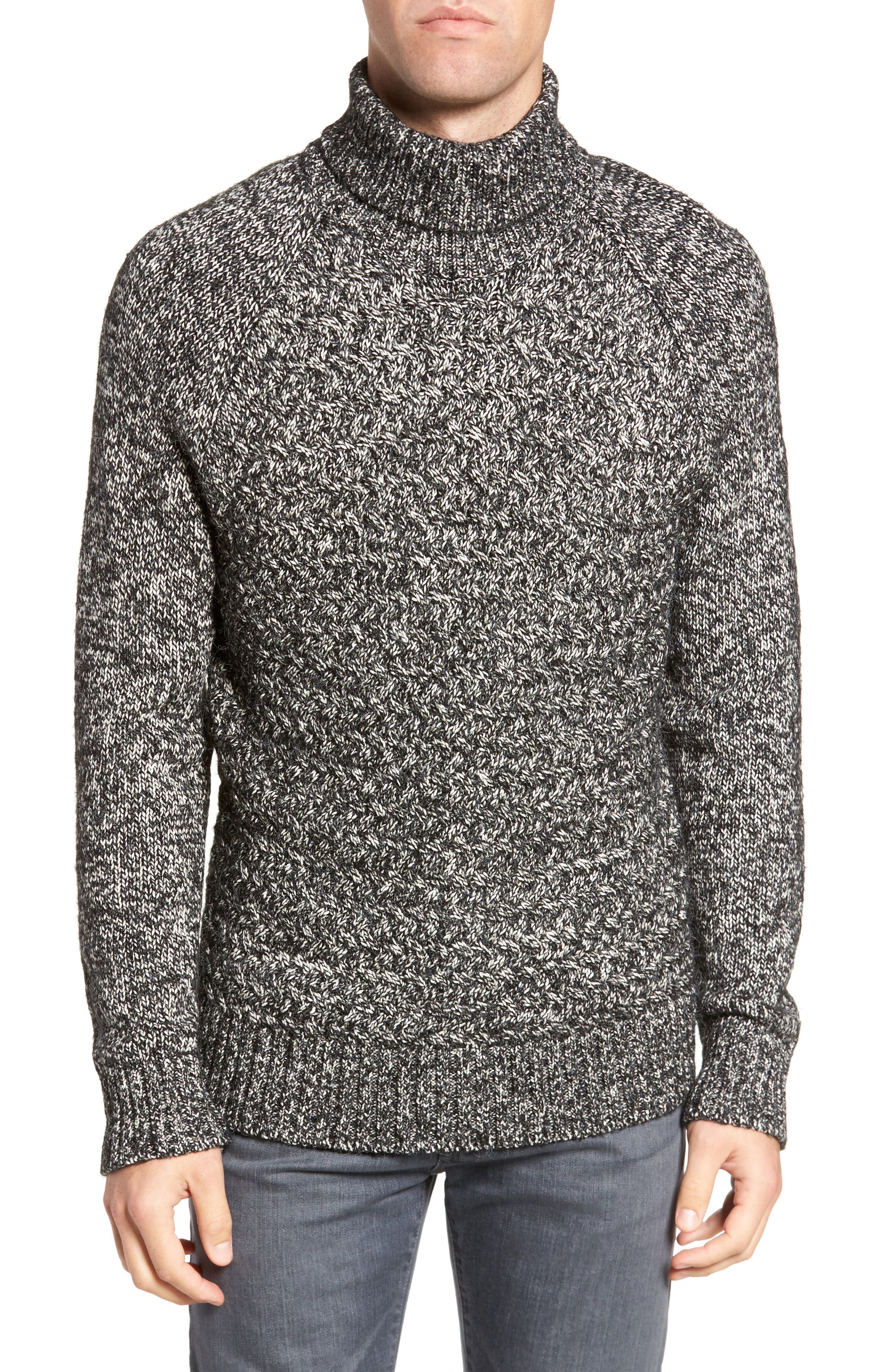 Marled Cable Knit Turtleneck Sweater,                             Main thumbnail 1, color,                             001
