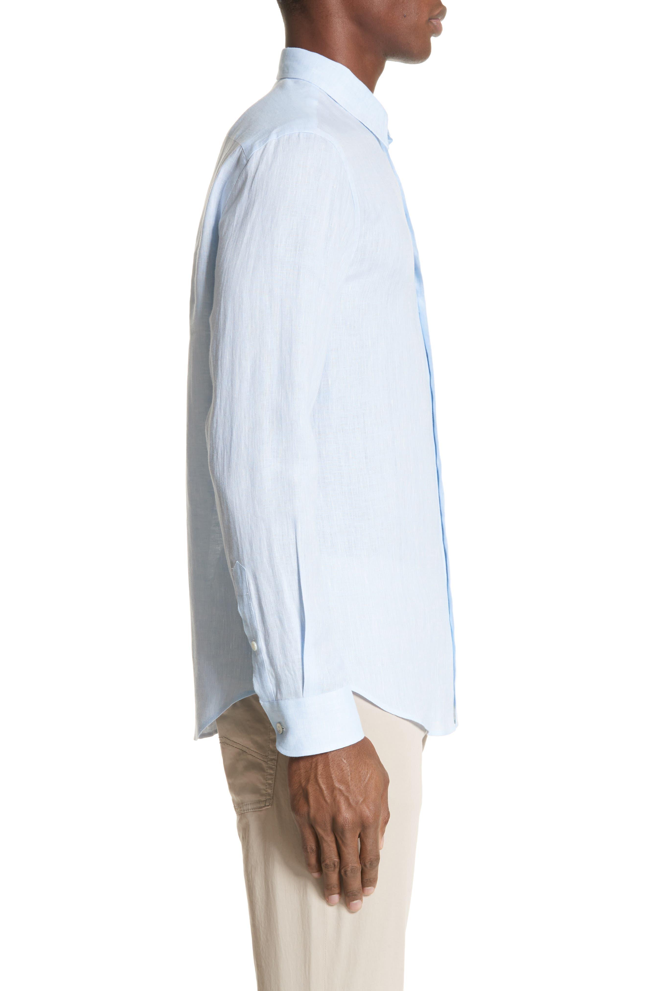Regular Fit Linen Dress Shirt,                             Alternate thumbnail 6, color,